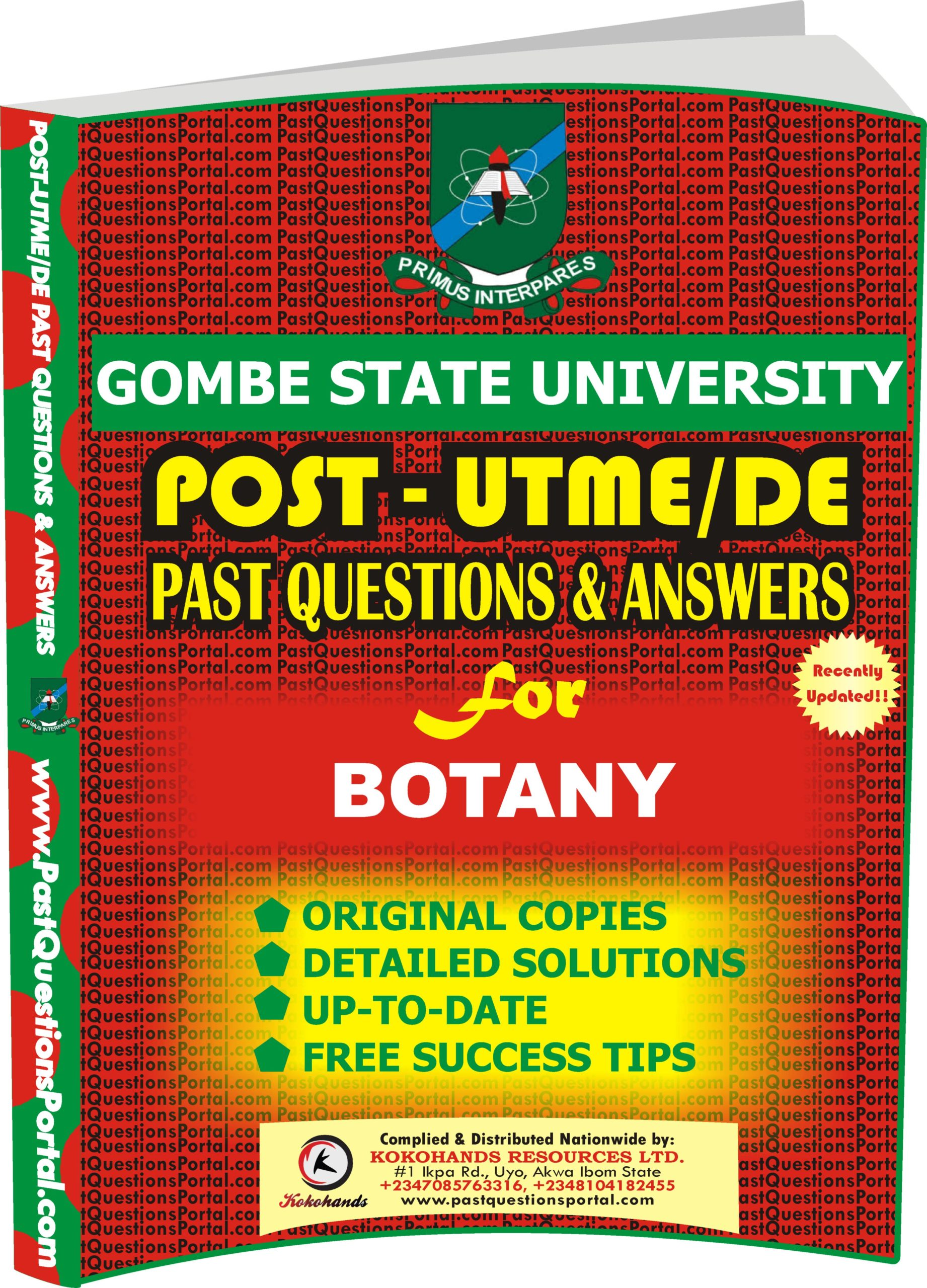 GSU Post UTME Past Questions for BOTANY