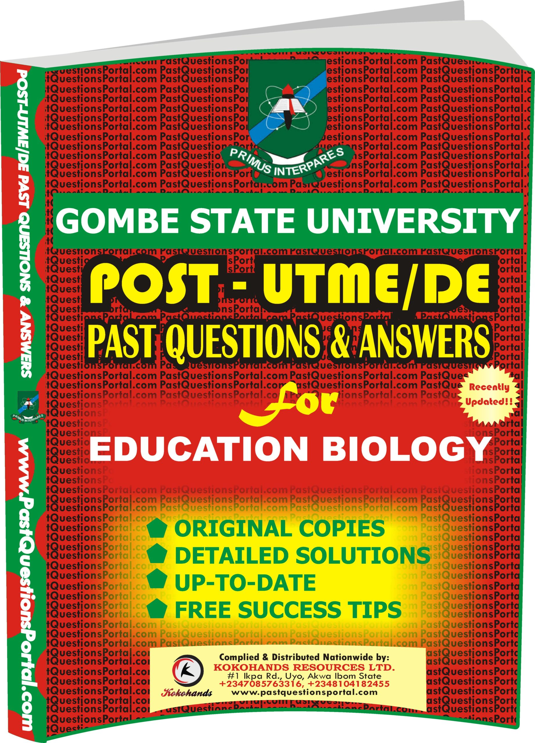 GSU Post UTME Past Questions for EDUCATION BIOLOGY