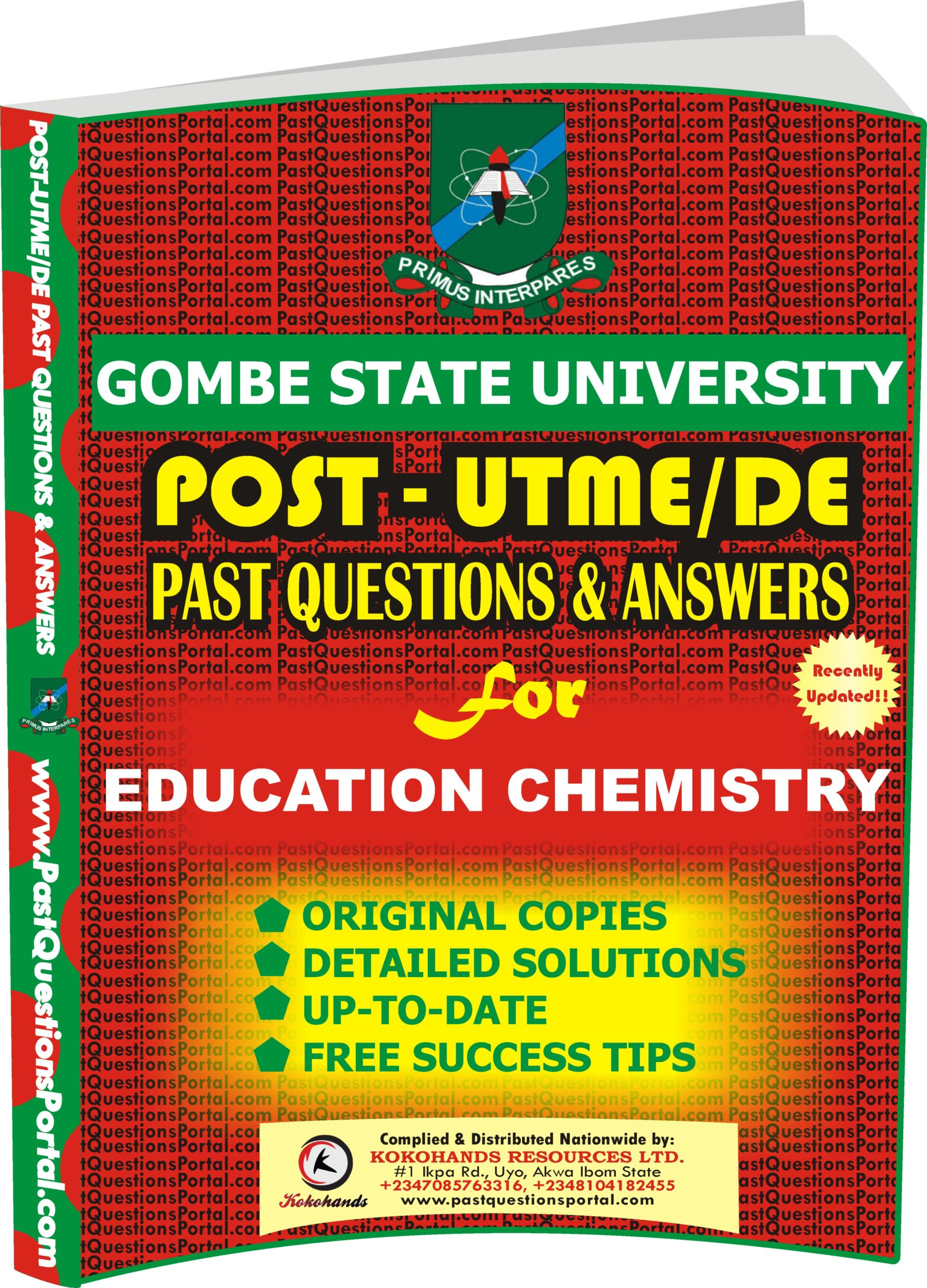 GSU Post UTME Past Questions for EDUCATION CHEMISTRY