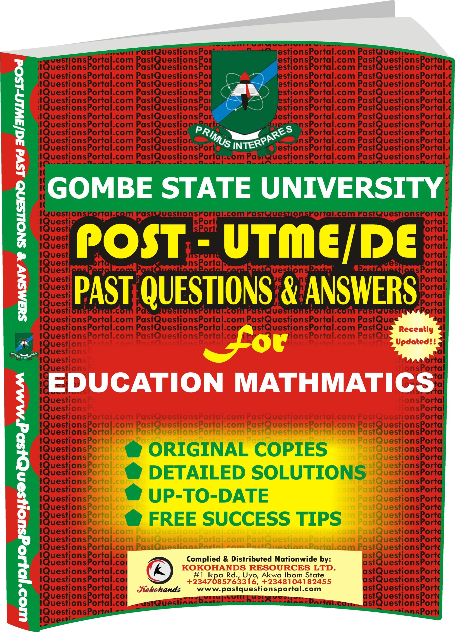 GSU Post UTME Past Questions for EDUCATION MATHEMATICS