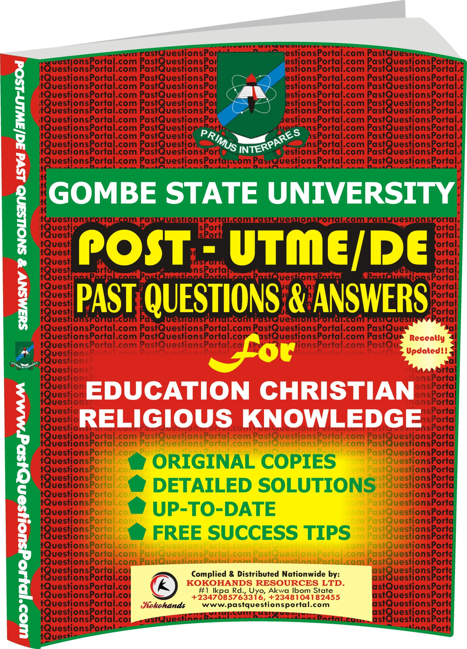 GSU Post UTME Past Questions for Education Christian Religious Knowledge