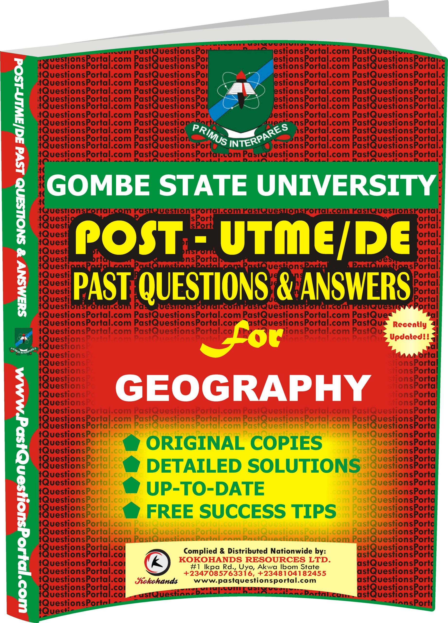 GSU Post UTME Past Questions for GEOGRAPHY