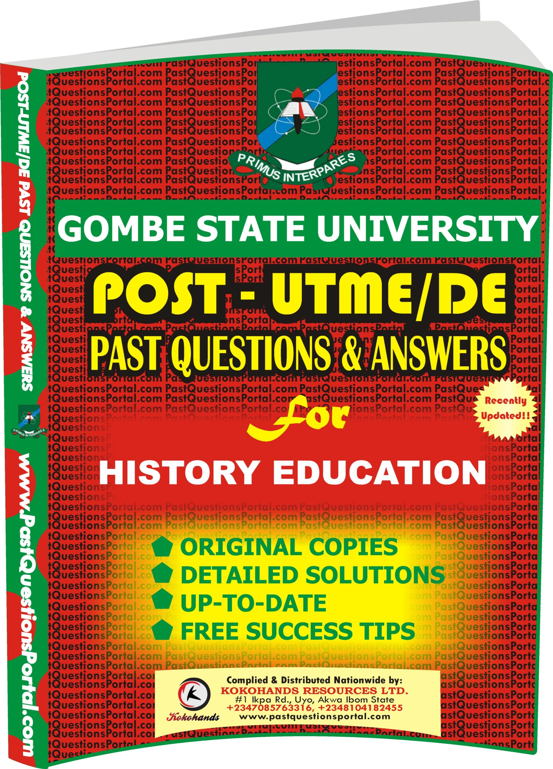 GSU Post UTME Past Questions for HISTORY EDUCATION