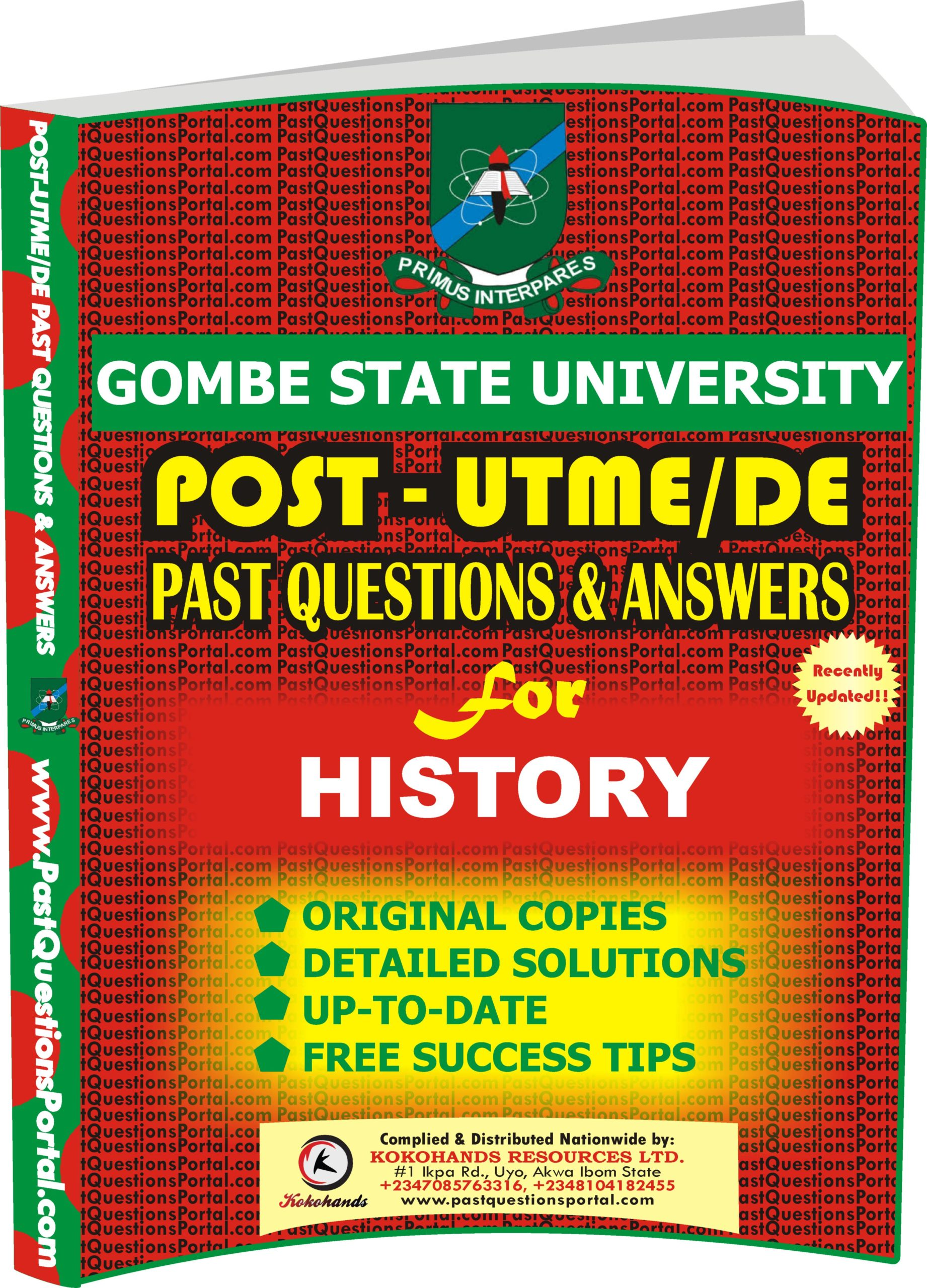 GSU Post UTME Past Questions for HISTORY