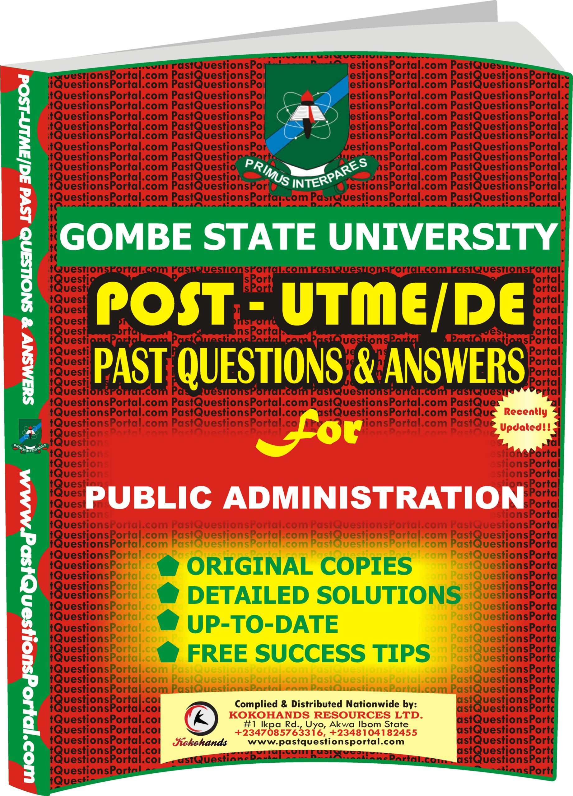 GSU Post UTME Past Questions for PUBLIC ADMINISTRATION
