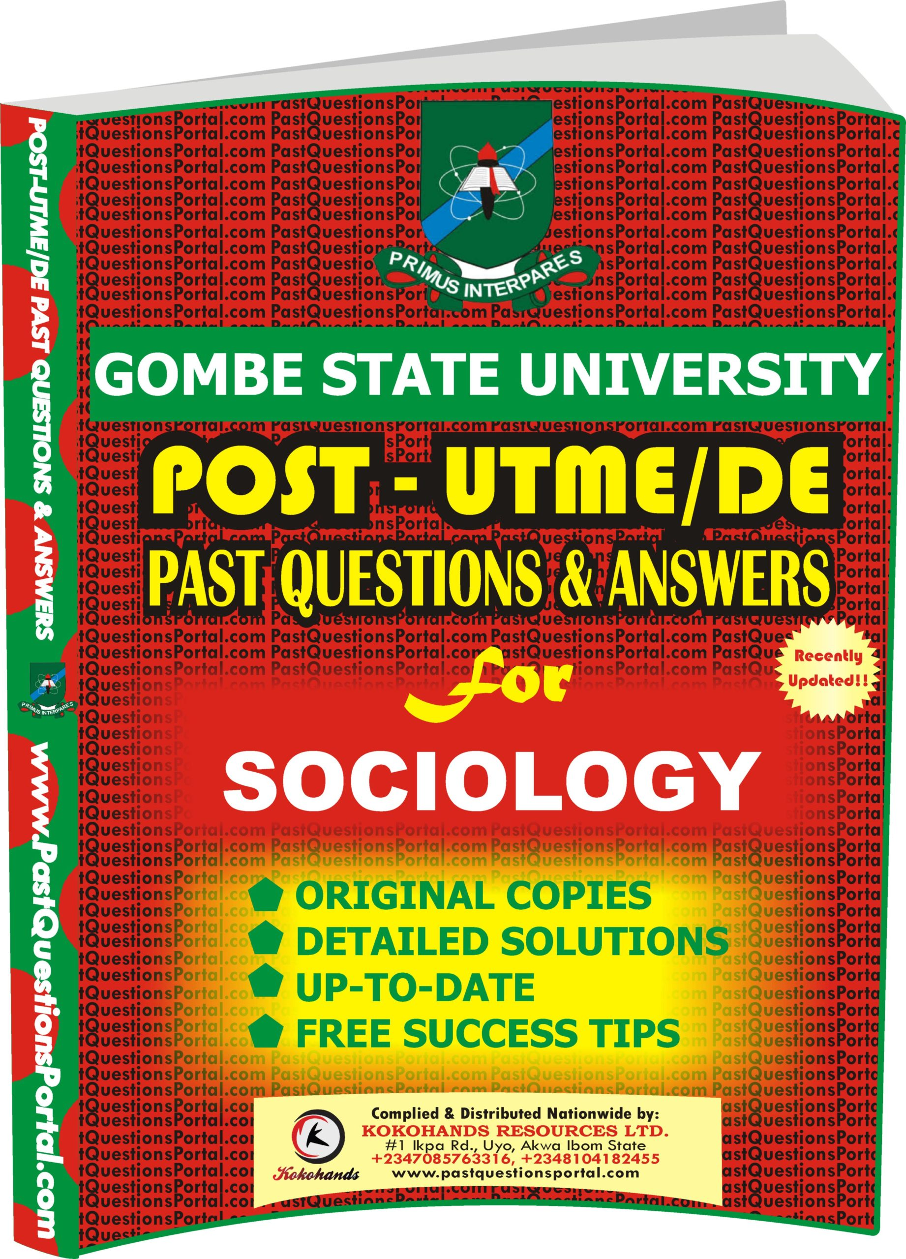 GSU Post UTME Past Questions for SOCIOLOGY