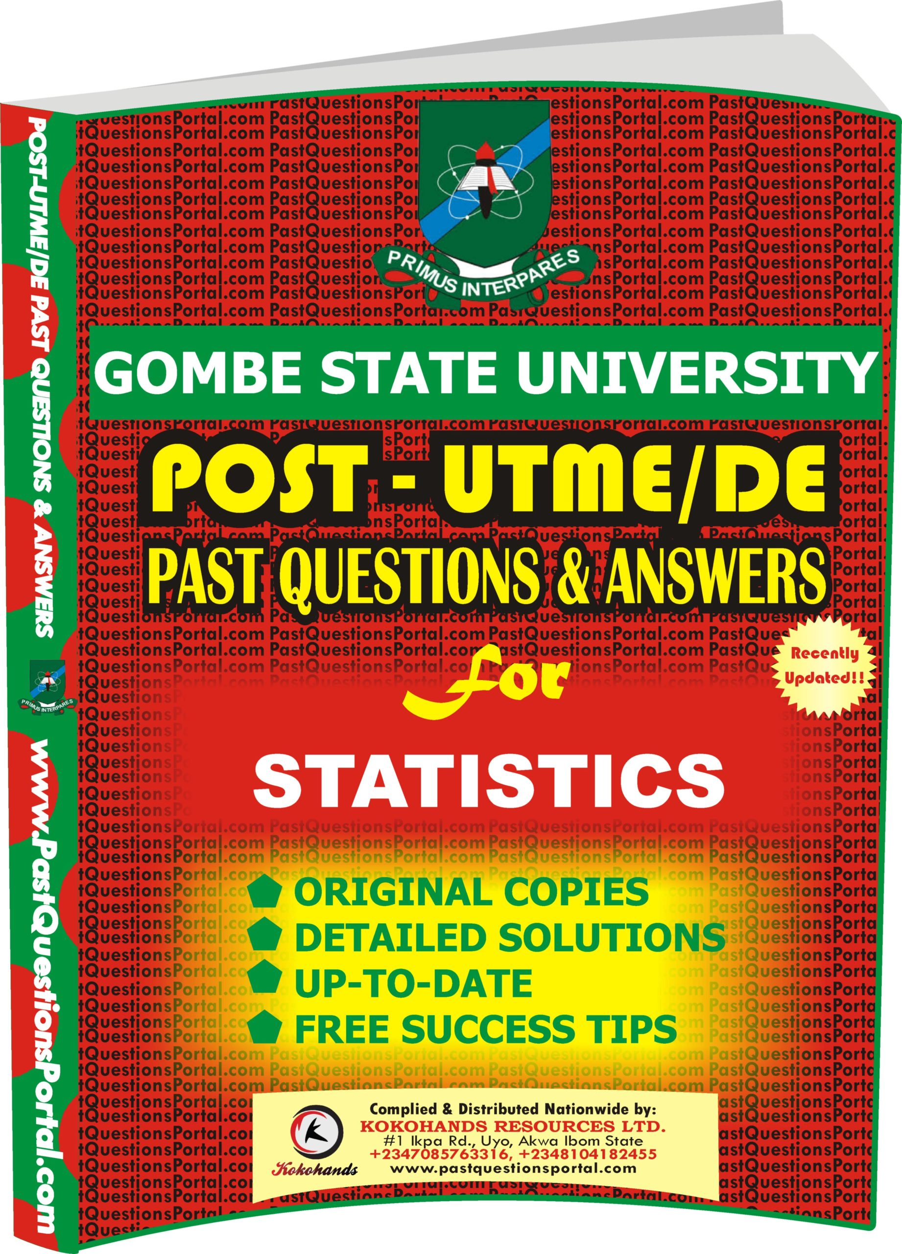 GSU Post UTME Past Questions for STATISTICS