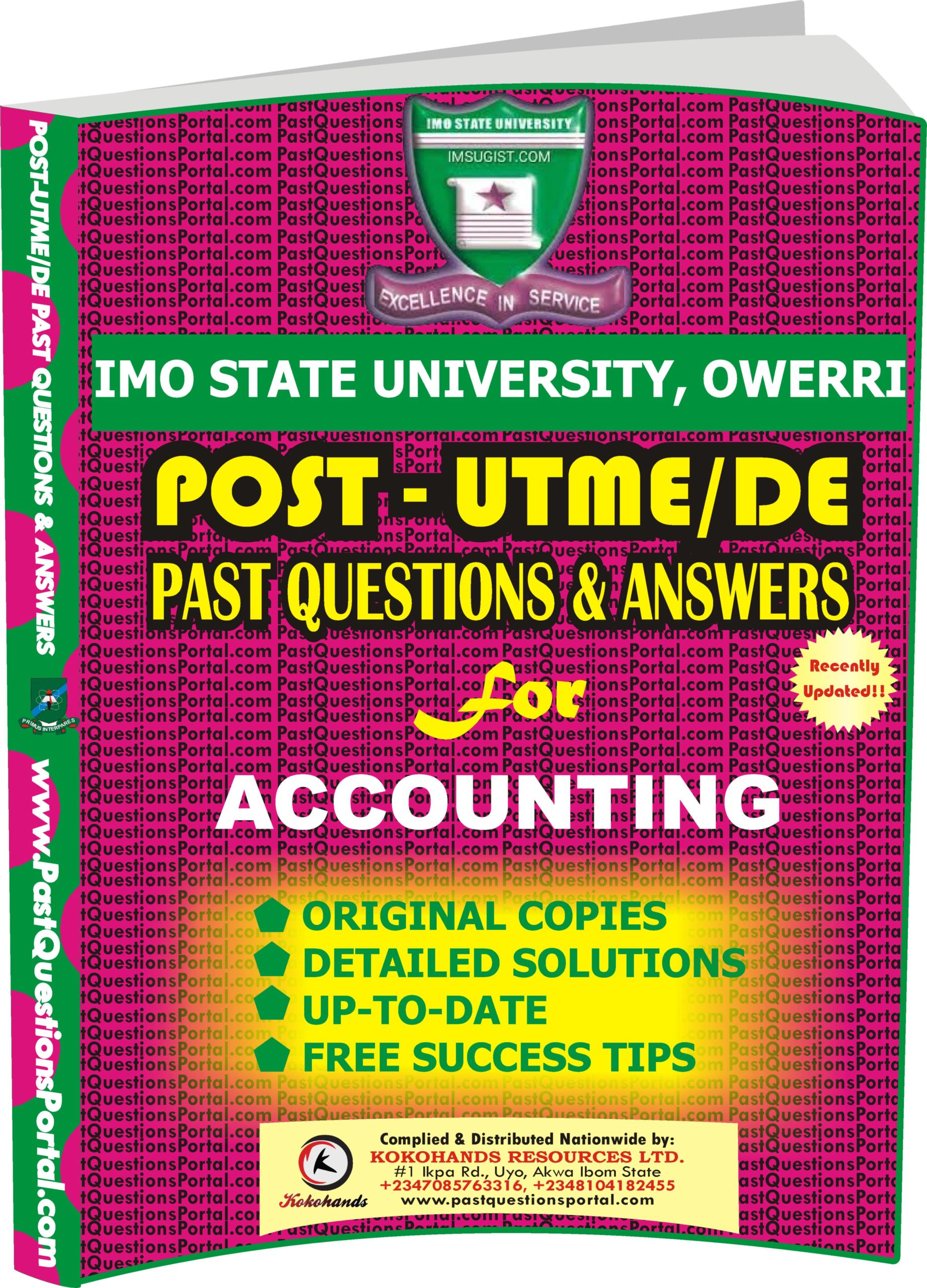 IMSU Post UTME Past Questions for ACCOUNTING