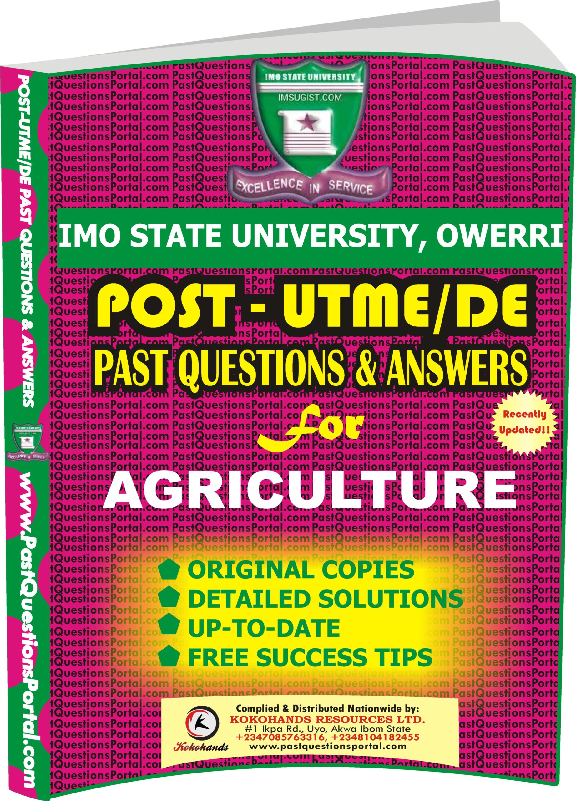 IMSU Post UTME Past Questions for AGRICULTURE