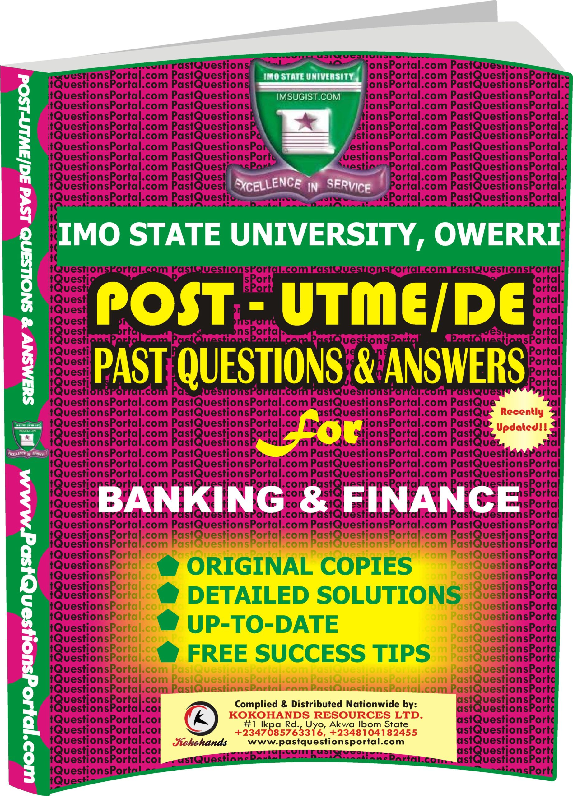 IMSU Post UTME Past Questions for BANKING & FINANCE