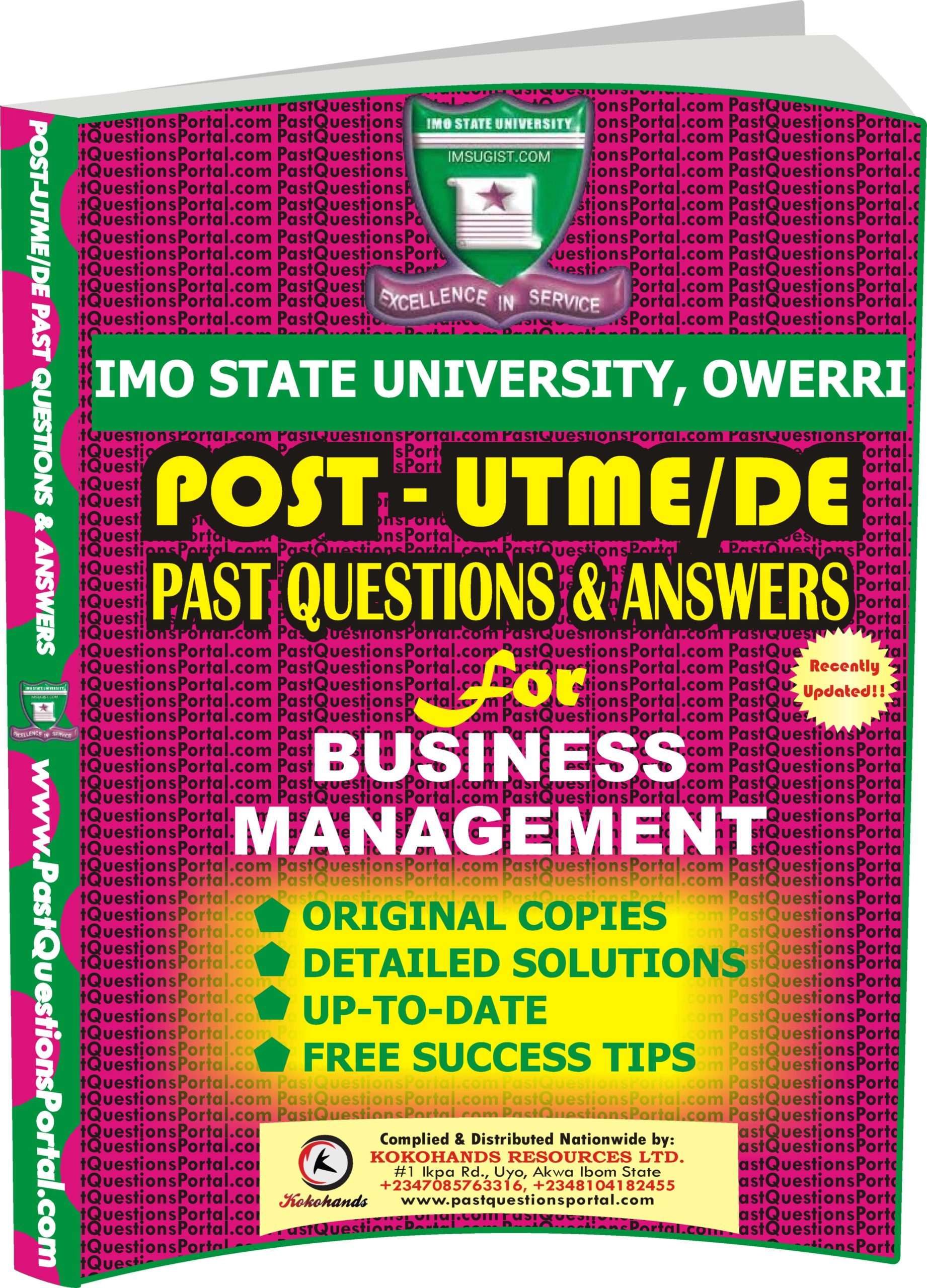 IMSU Post UTME Past Questions for BUSINESS MANAGEMENT