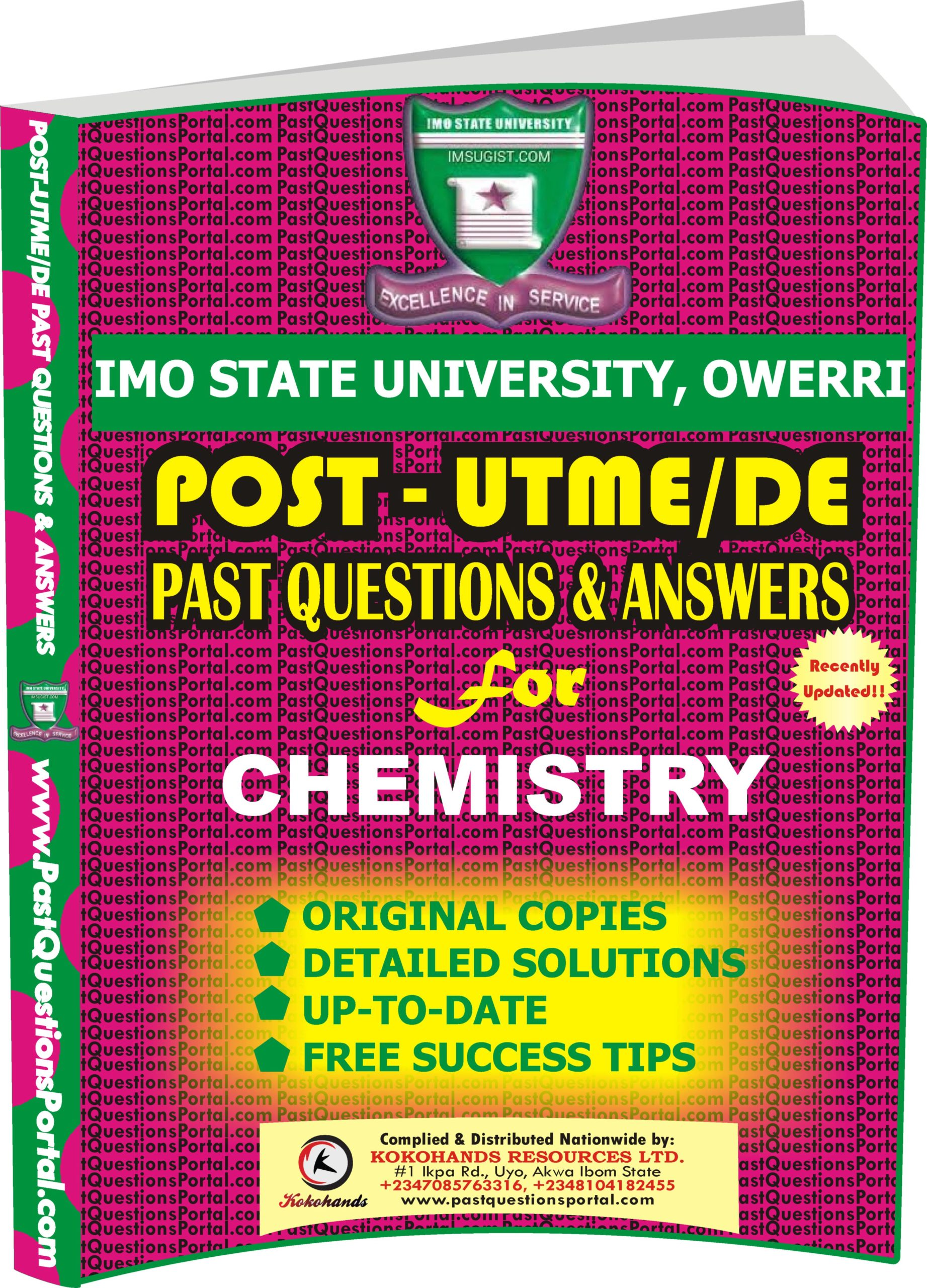IMSU Post UTME Past Questions for CHEMISTRY