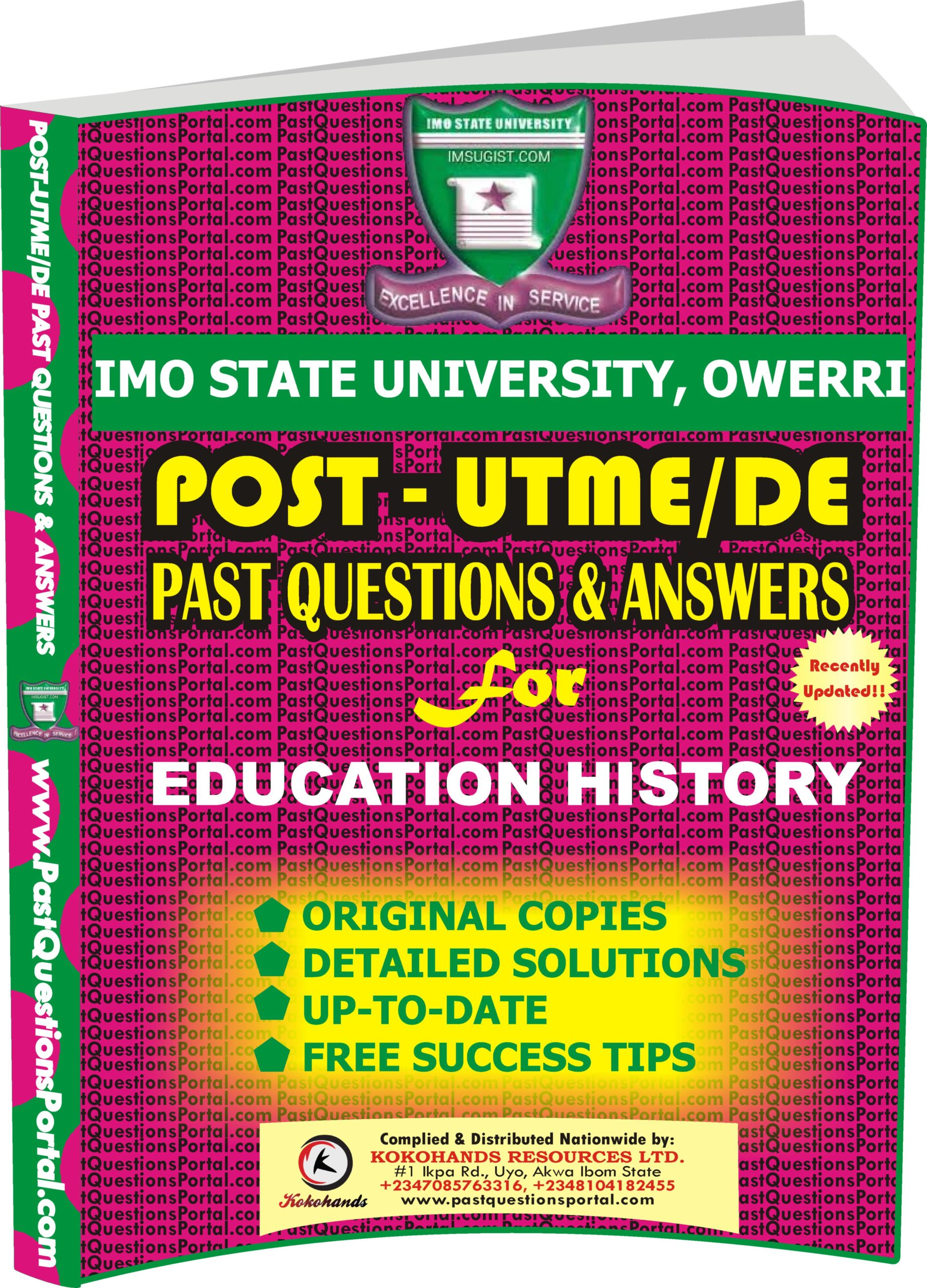 IMSU Post UTME Past Questions for EDUCATION HISTORY
