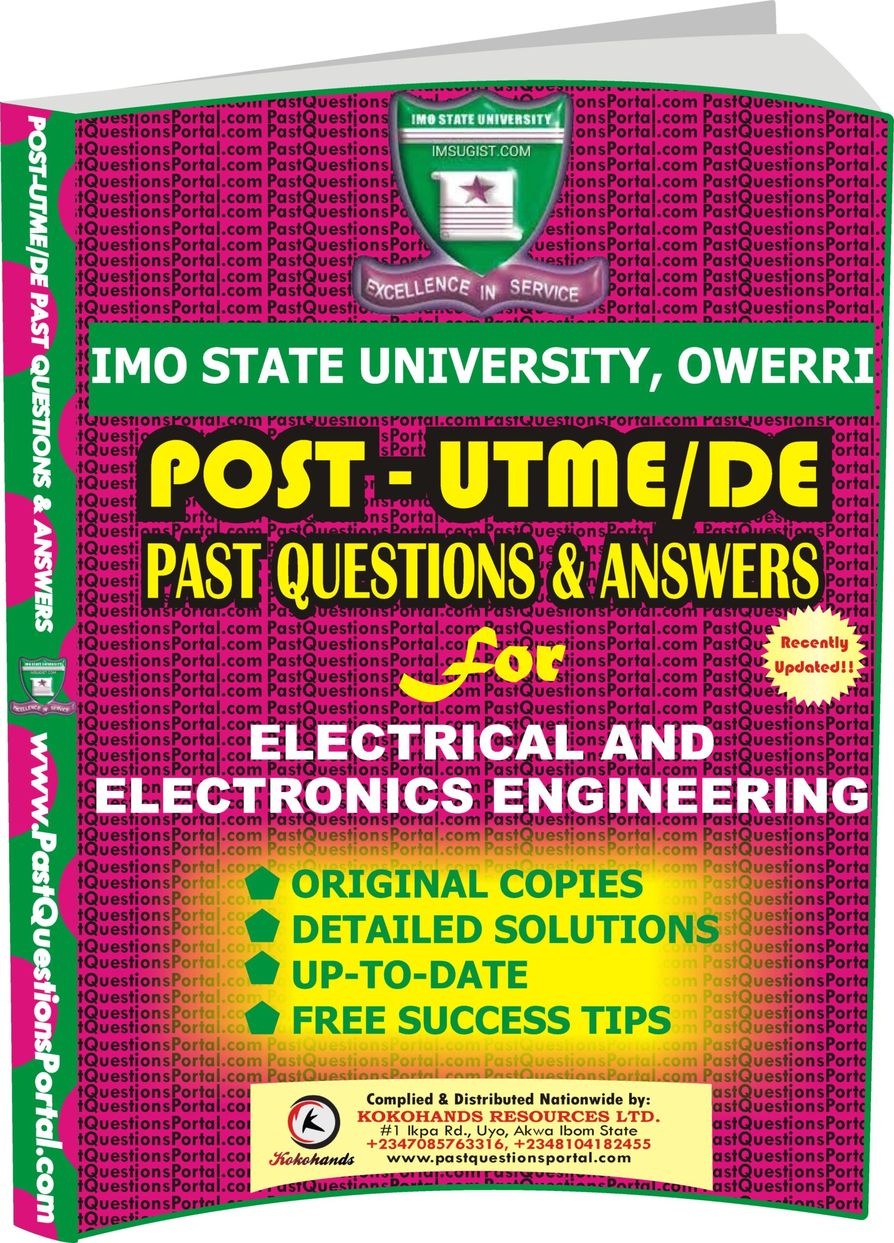 IMSU Post UTME Past Questions for Electrical and Electronics Engineering