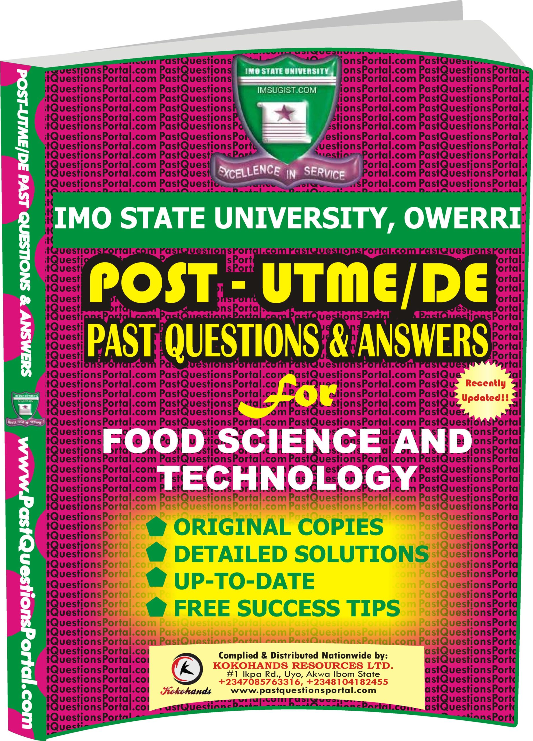IMSU Post UTME Past Questions for Food Science and Technology
