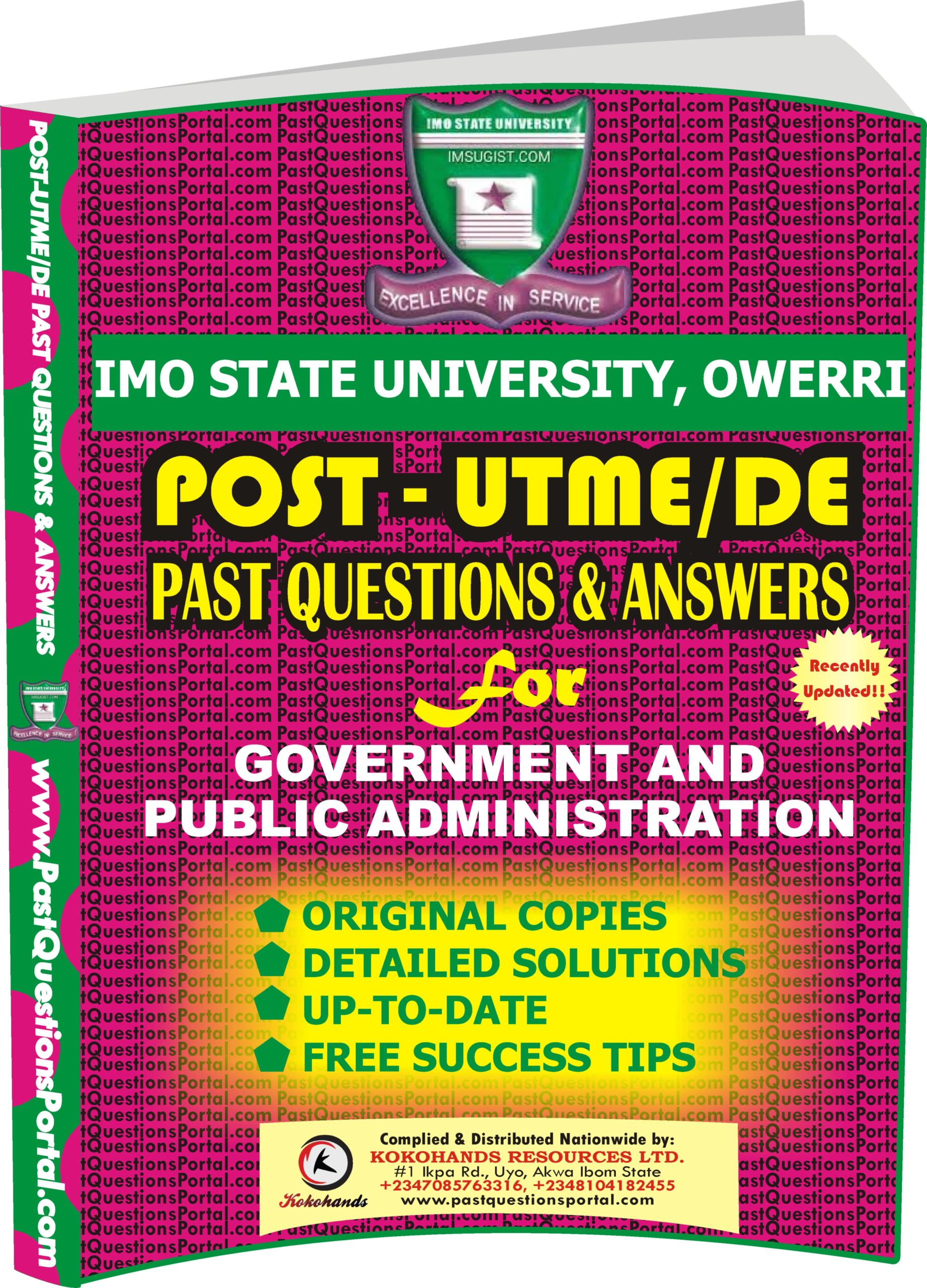 IMSU Post UTME Past Questions for Government and Public Administration