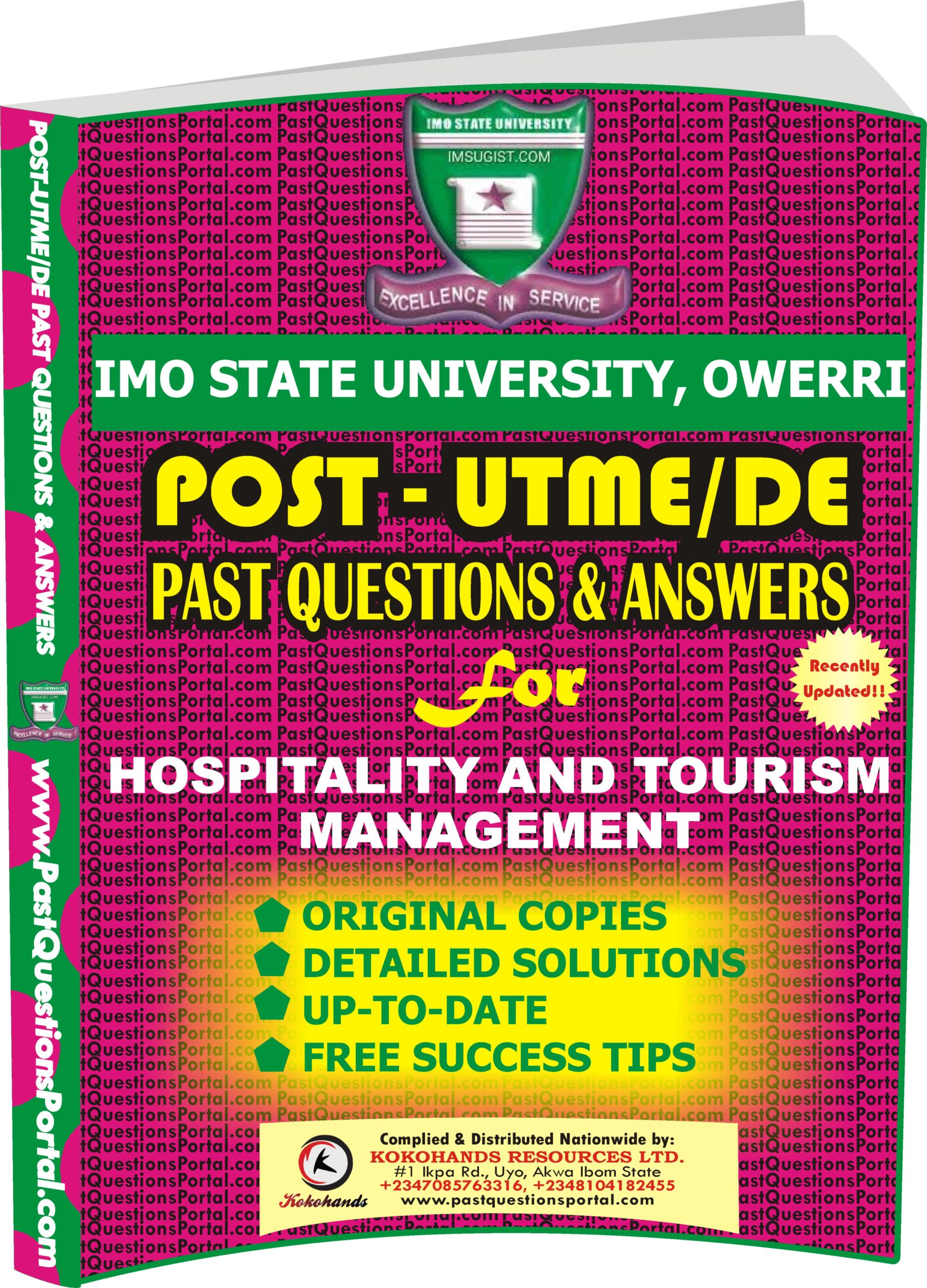 IMSU Post UTME Past Questions for Hospitality and Tourism Management