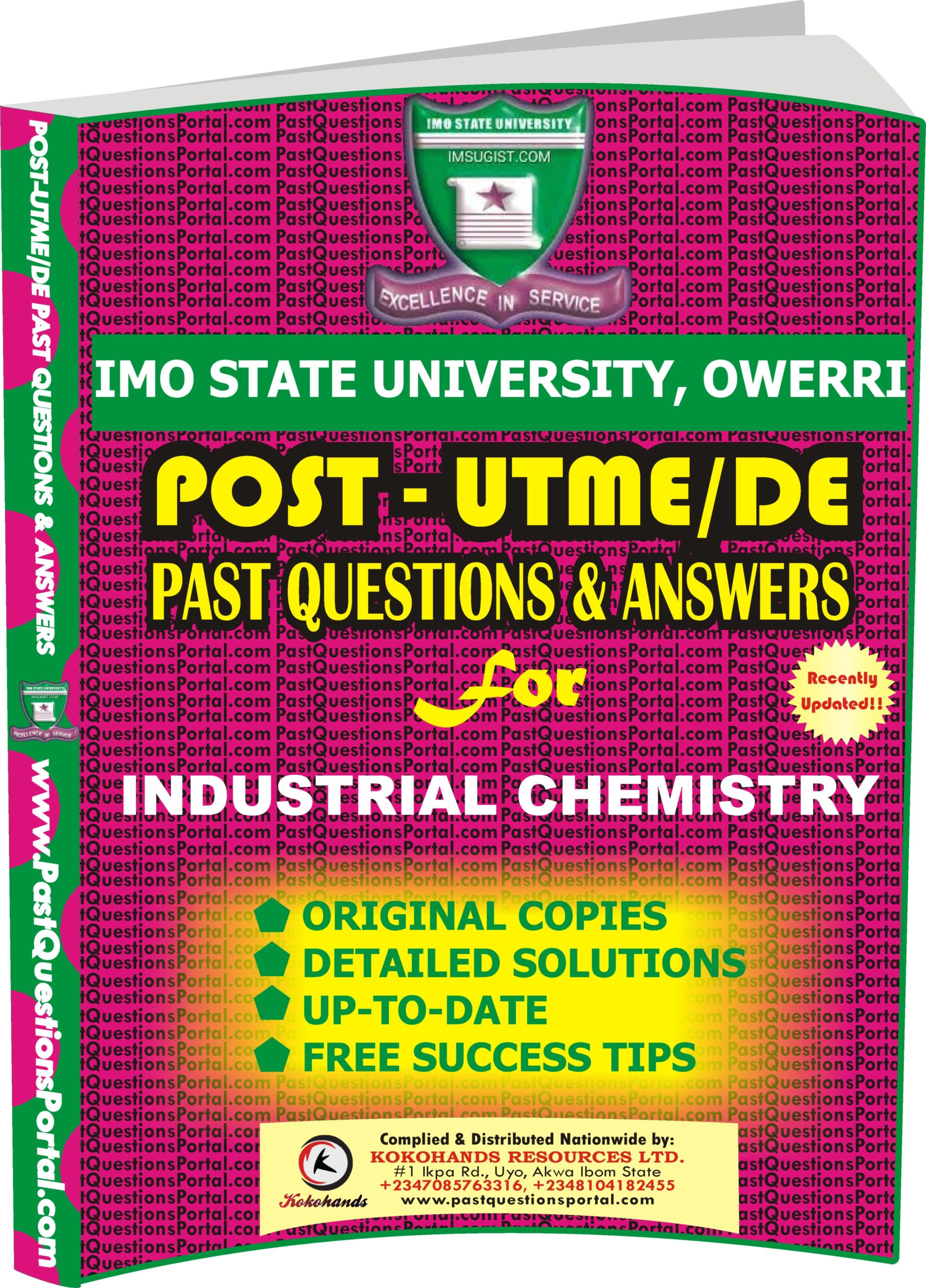IMSU Post UTME Past Questions for INDUSTRIAL CHEMISTRY