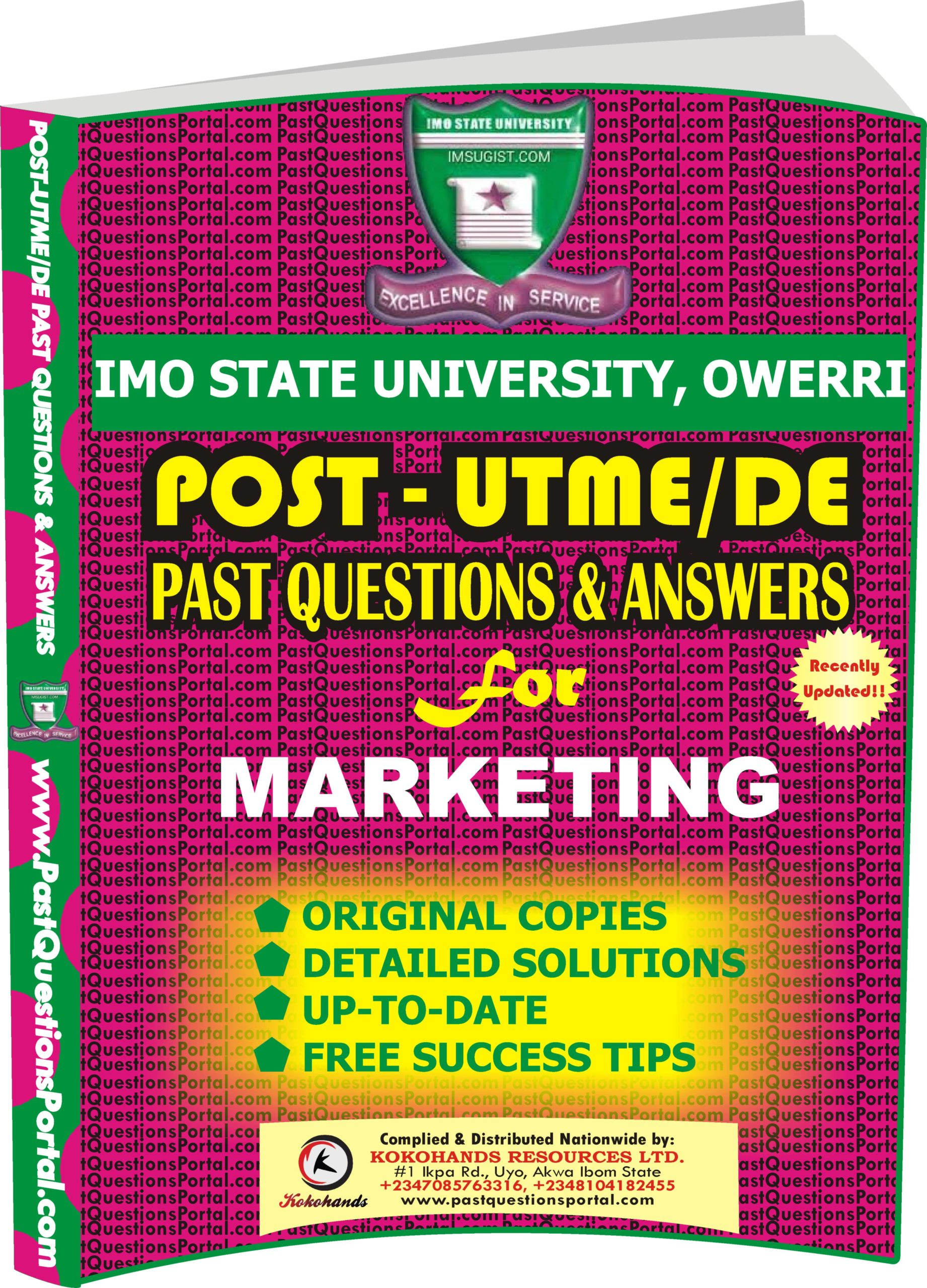 IMSU Post UTME Past Questions for MARKETING