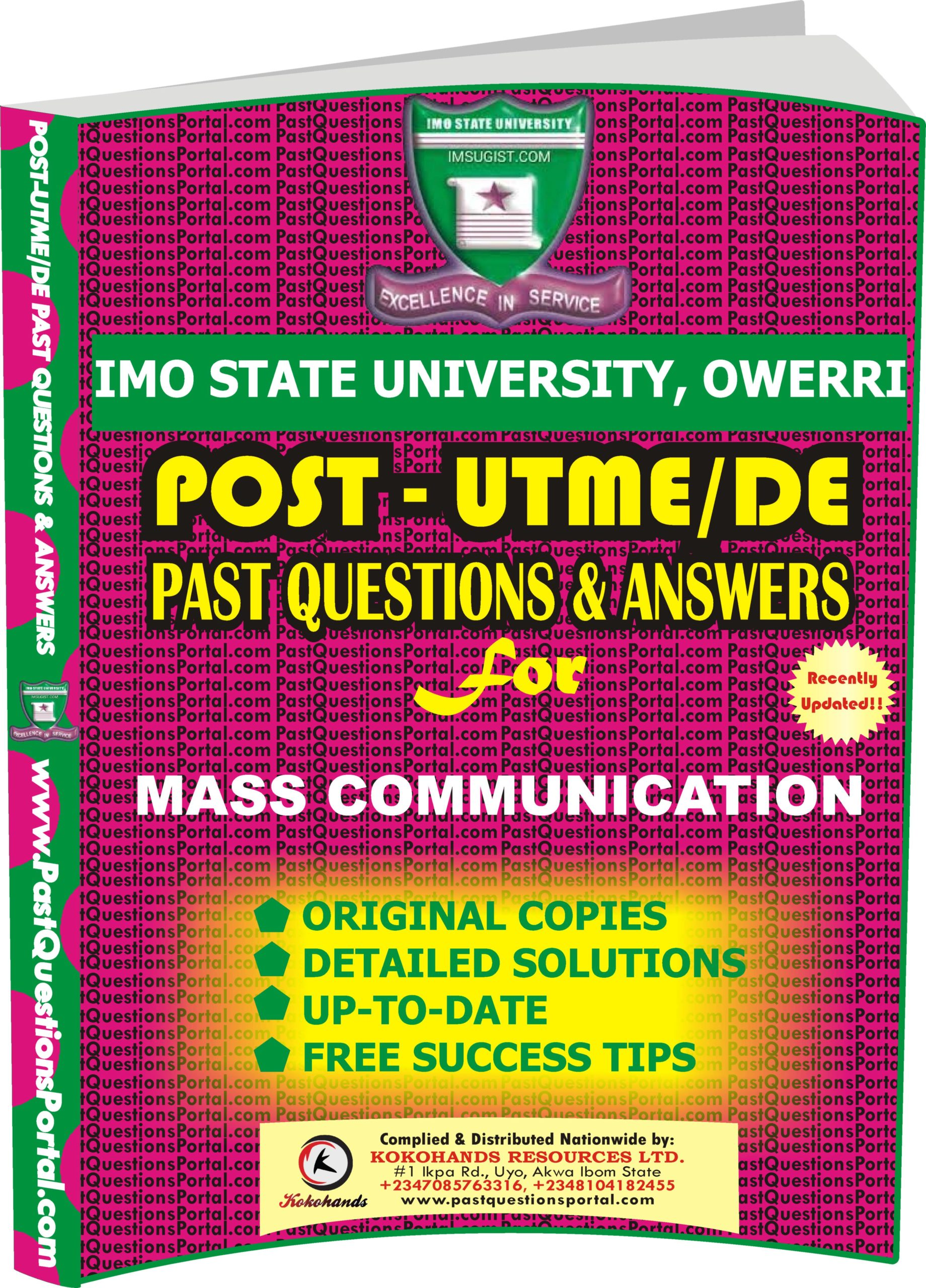 IMSU Post UTME Past Questions for MASS COMMUNICATION