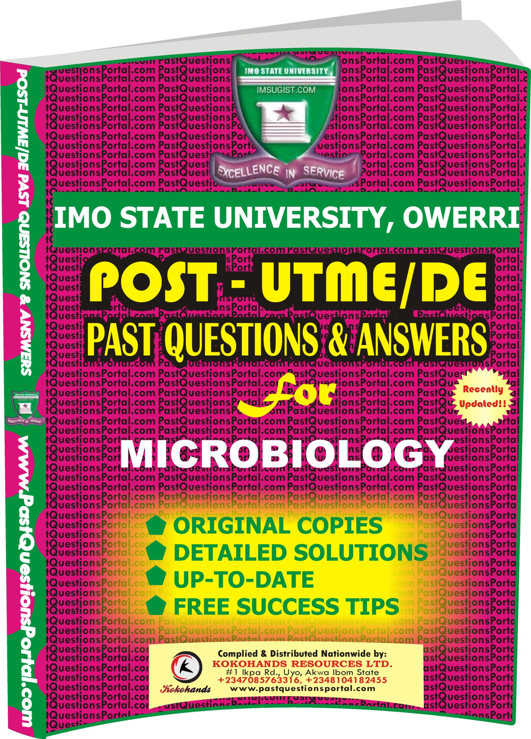 IMSU Post UTME Past Questions for MICROBIOLOGY