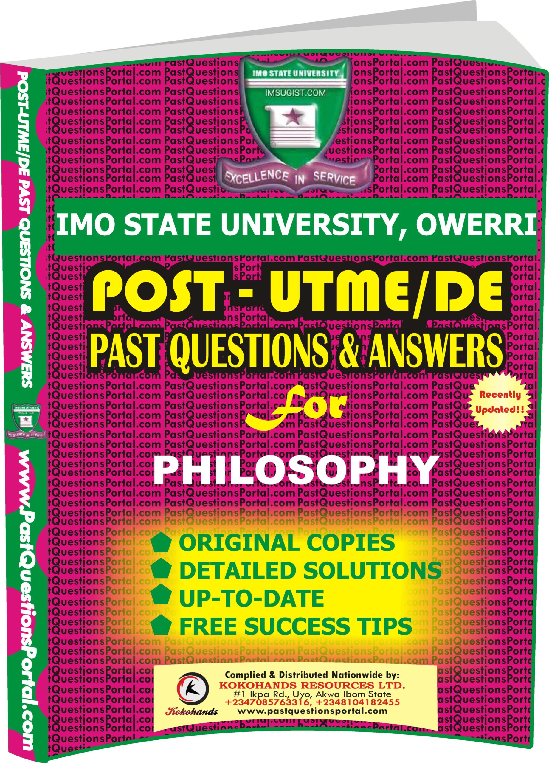 IMSU Post UTME Past Questions for PHILOSOPHY