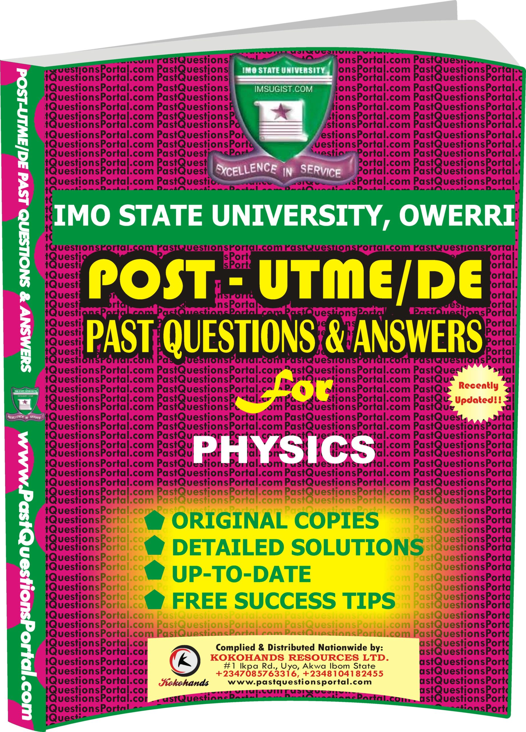 IMSU Post UTME Past Questions for PHYSICS