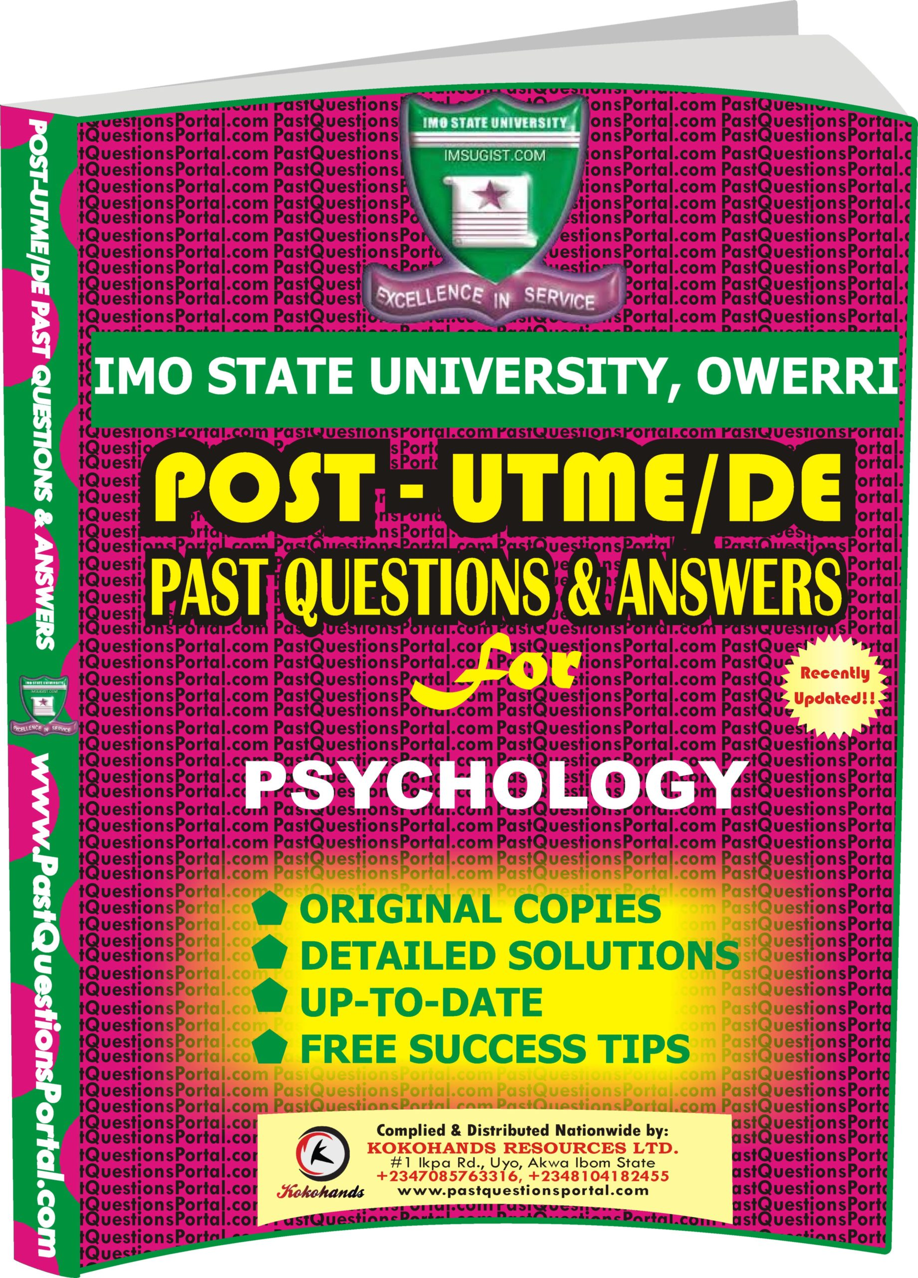 IMSU Post UTME Past Questions for PSYCHOLOGY
