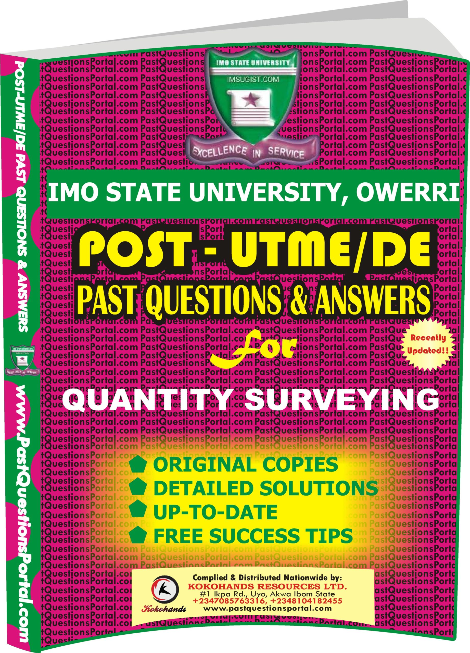 IMSU Post UTME Past Questions for QUANTITY SURVEYING