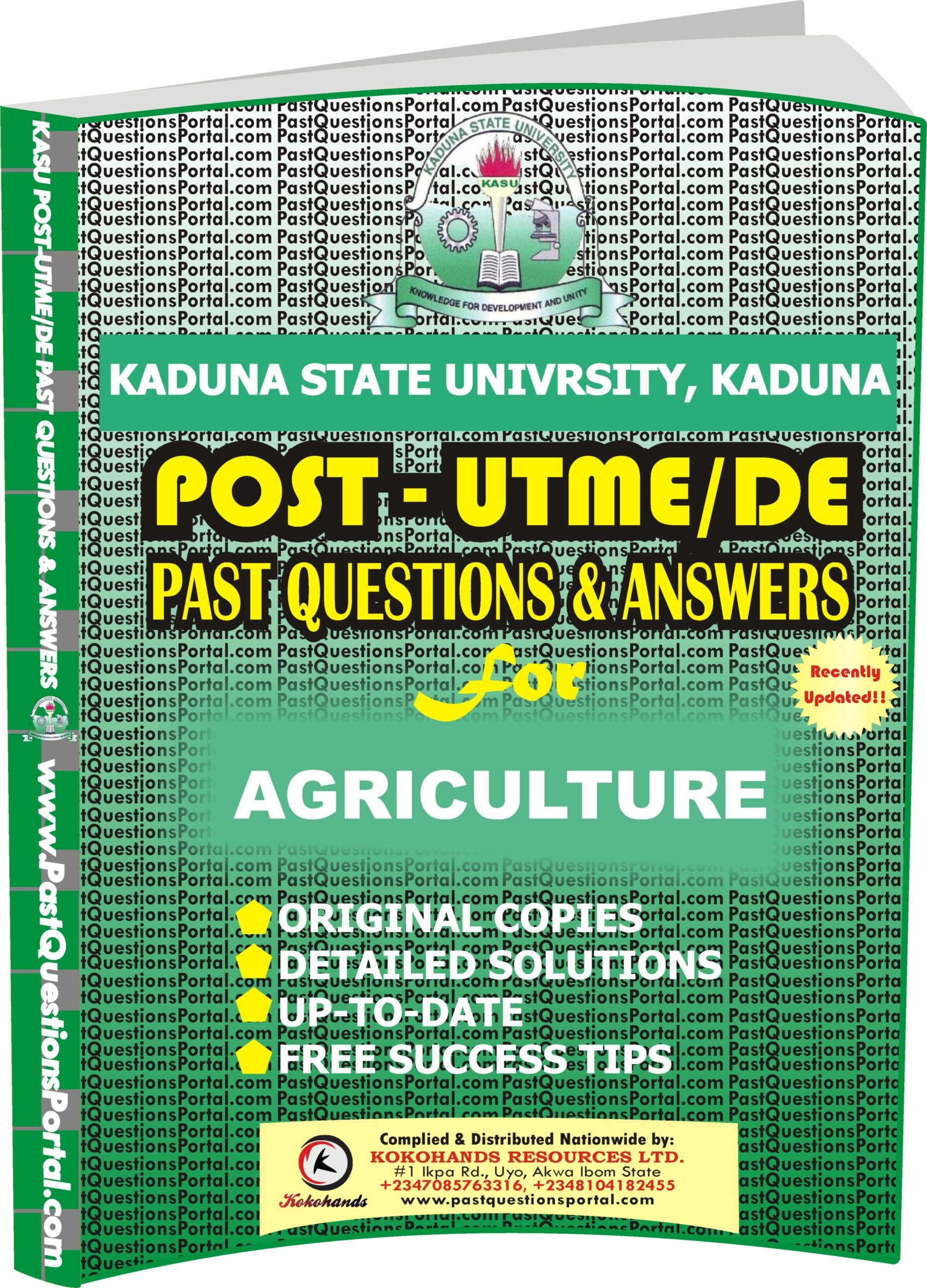 KASU Post UTME Past Questions for AGRICULTURE