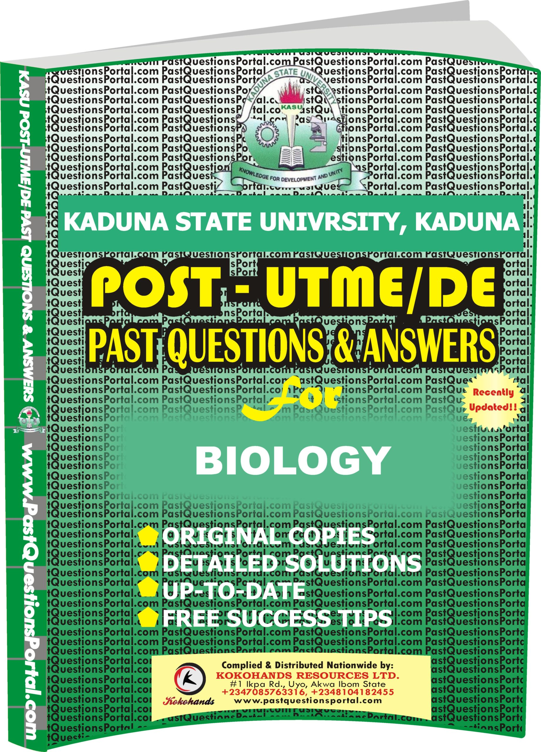 KASU Post UTME Past Questions for BIOLOGY