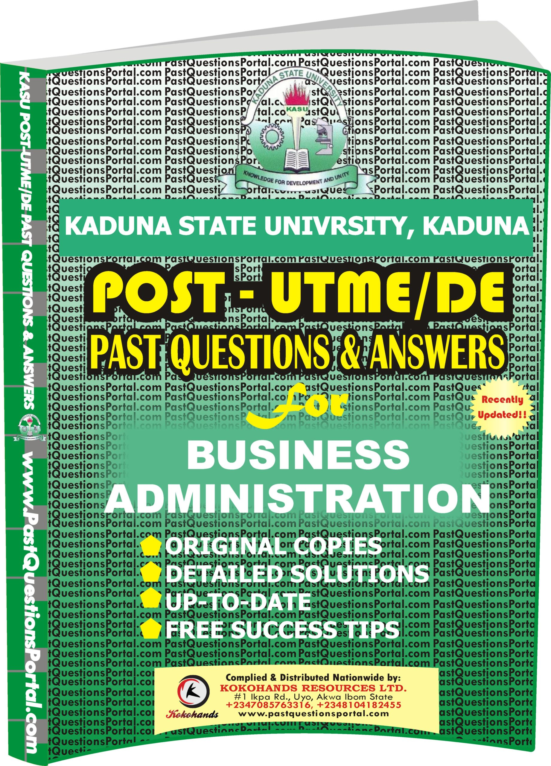 KASU Post UTME Past Questions for Business Administration