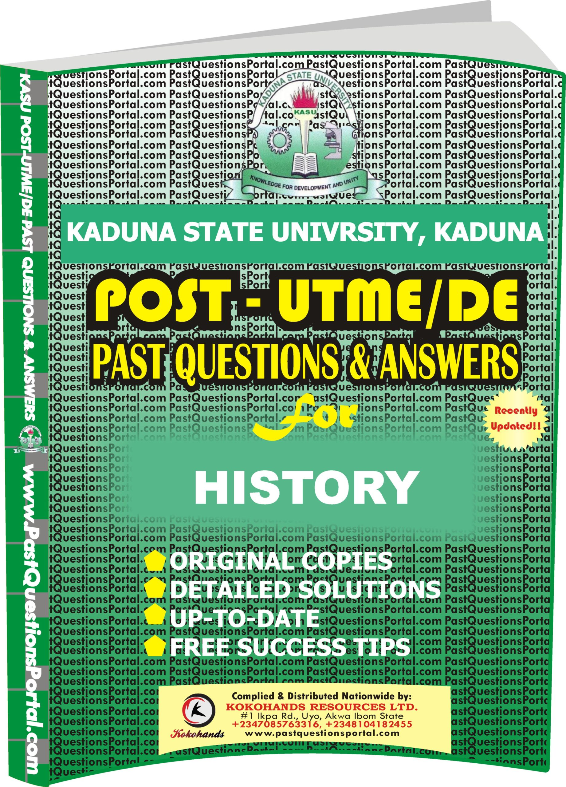 KASU Post UTME Past Questions for HISTORY