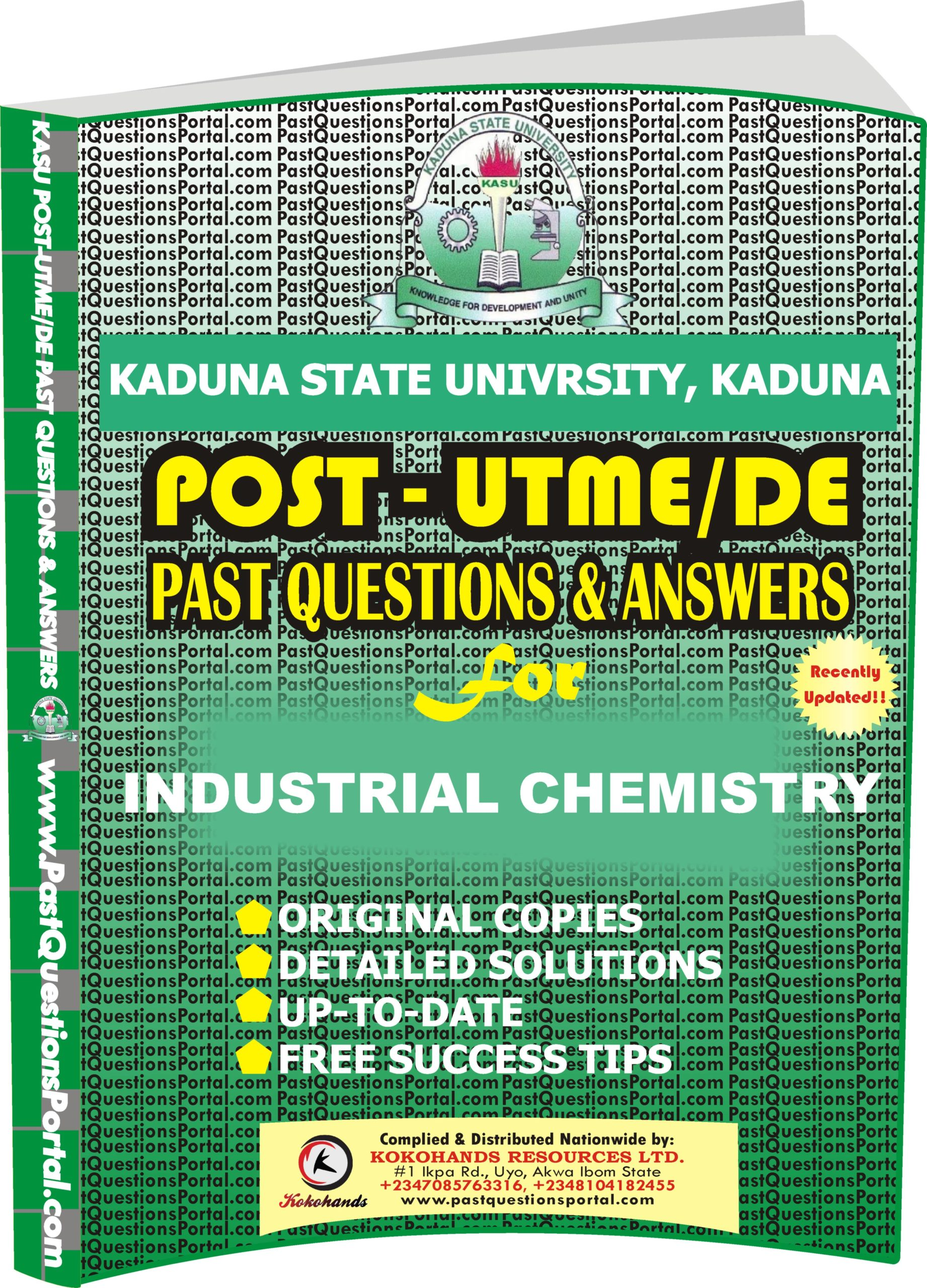 KASU Post UTME Past Questions for INDUSTRIAL CHEMISTRY