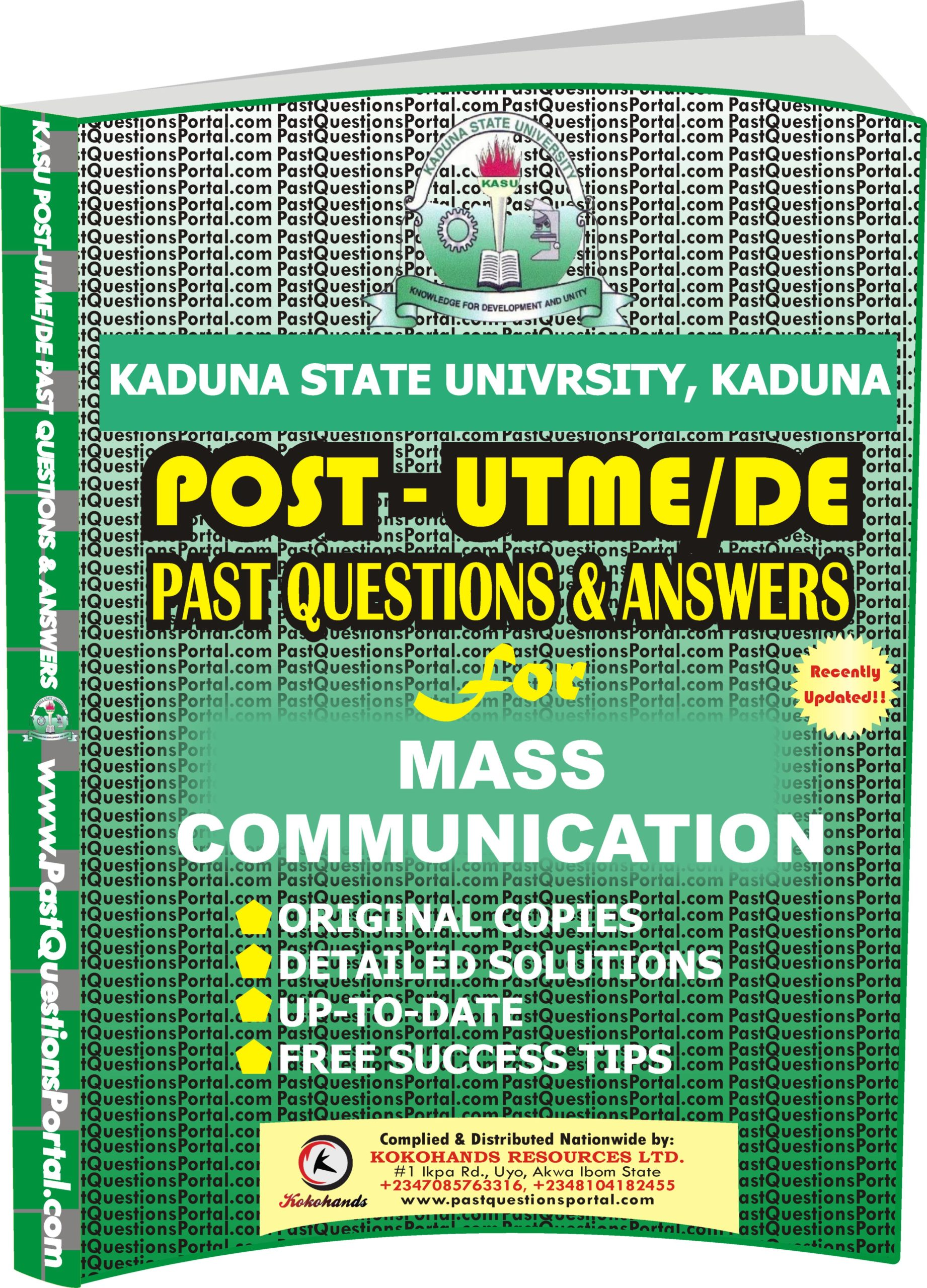 KASU Post UTME Past Questions for Mass Communication