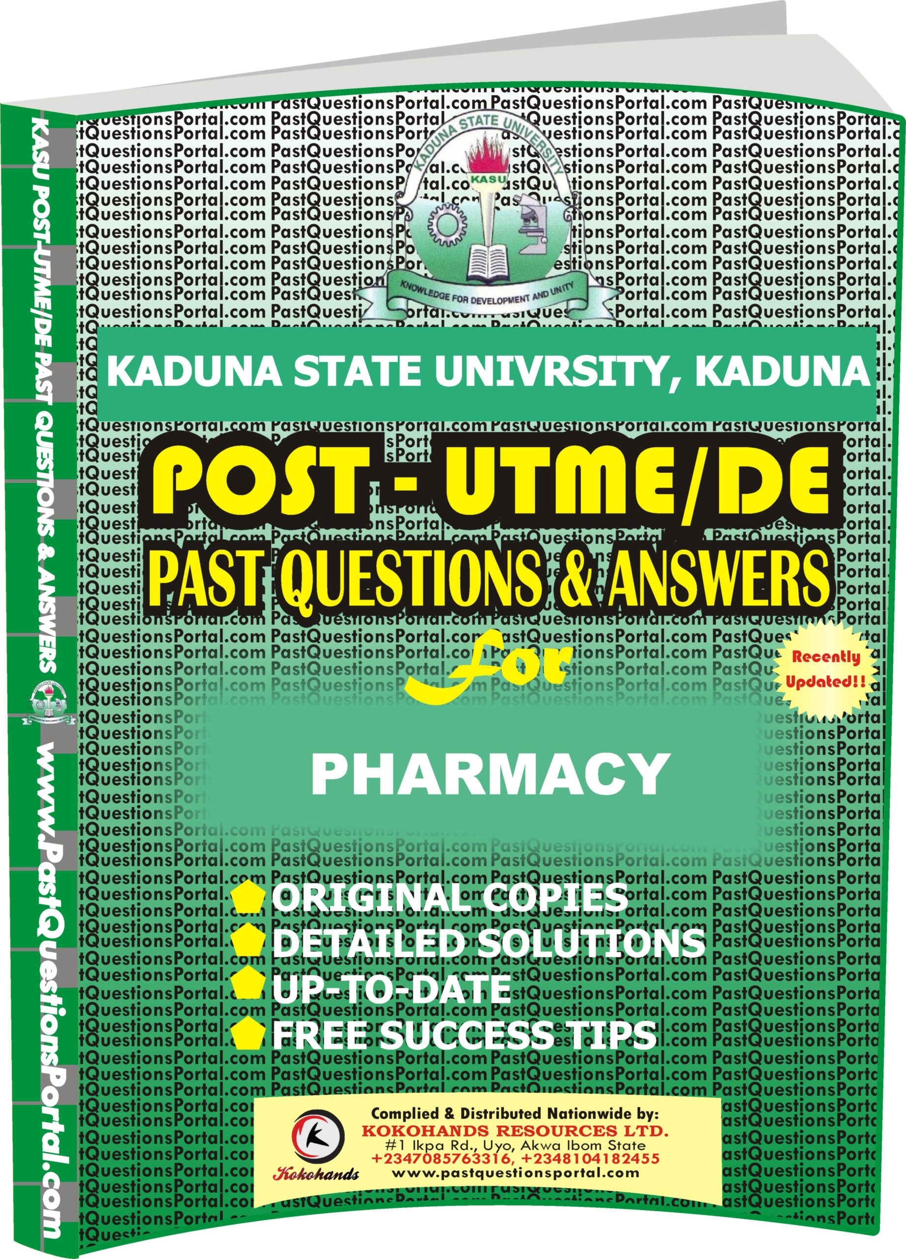 KASU Post UTME Past Questions for PHARMACY