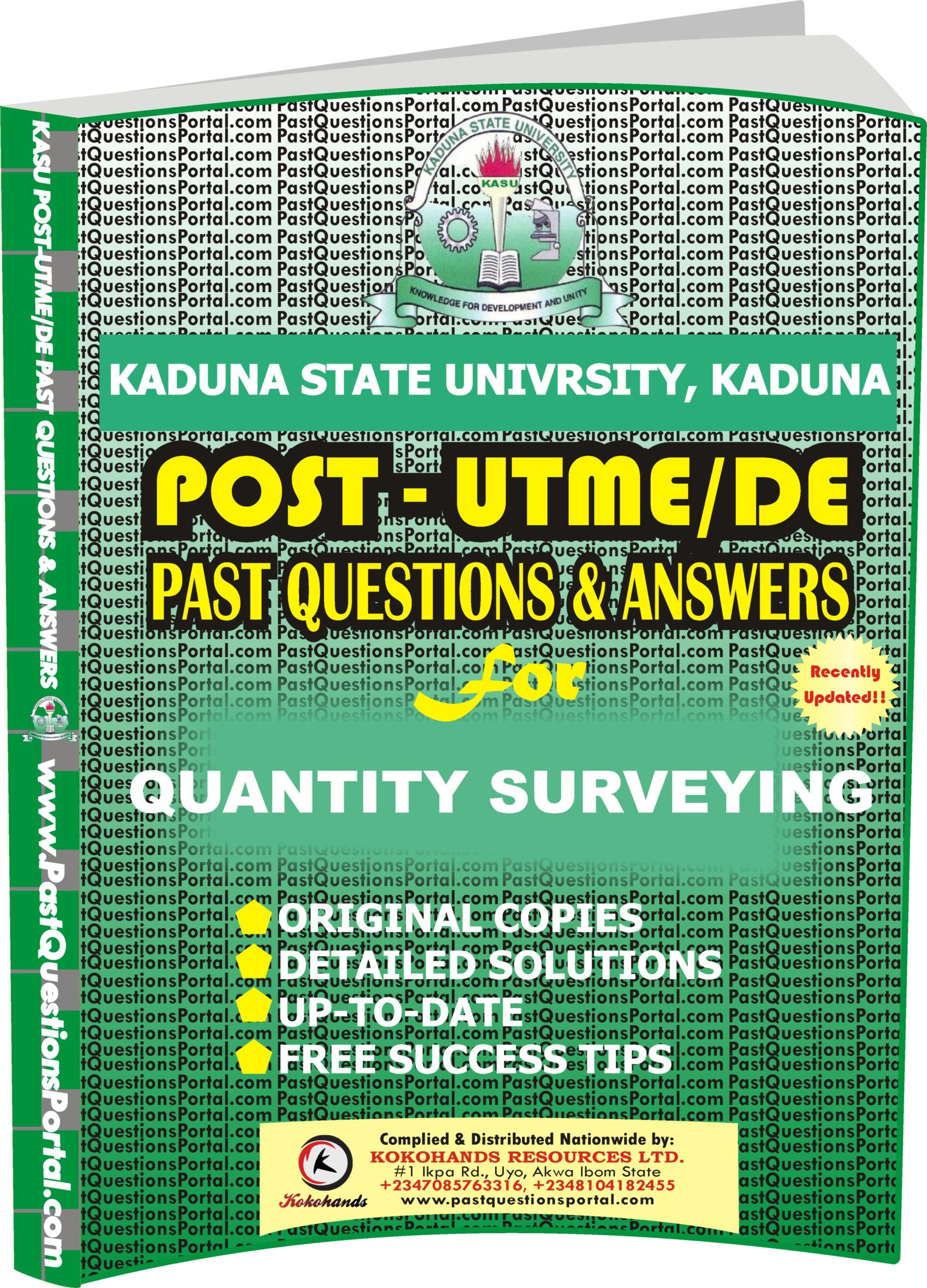 KASU Post UTME Past Questions for QUANTITY SURVEYING