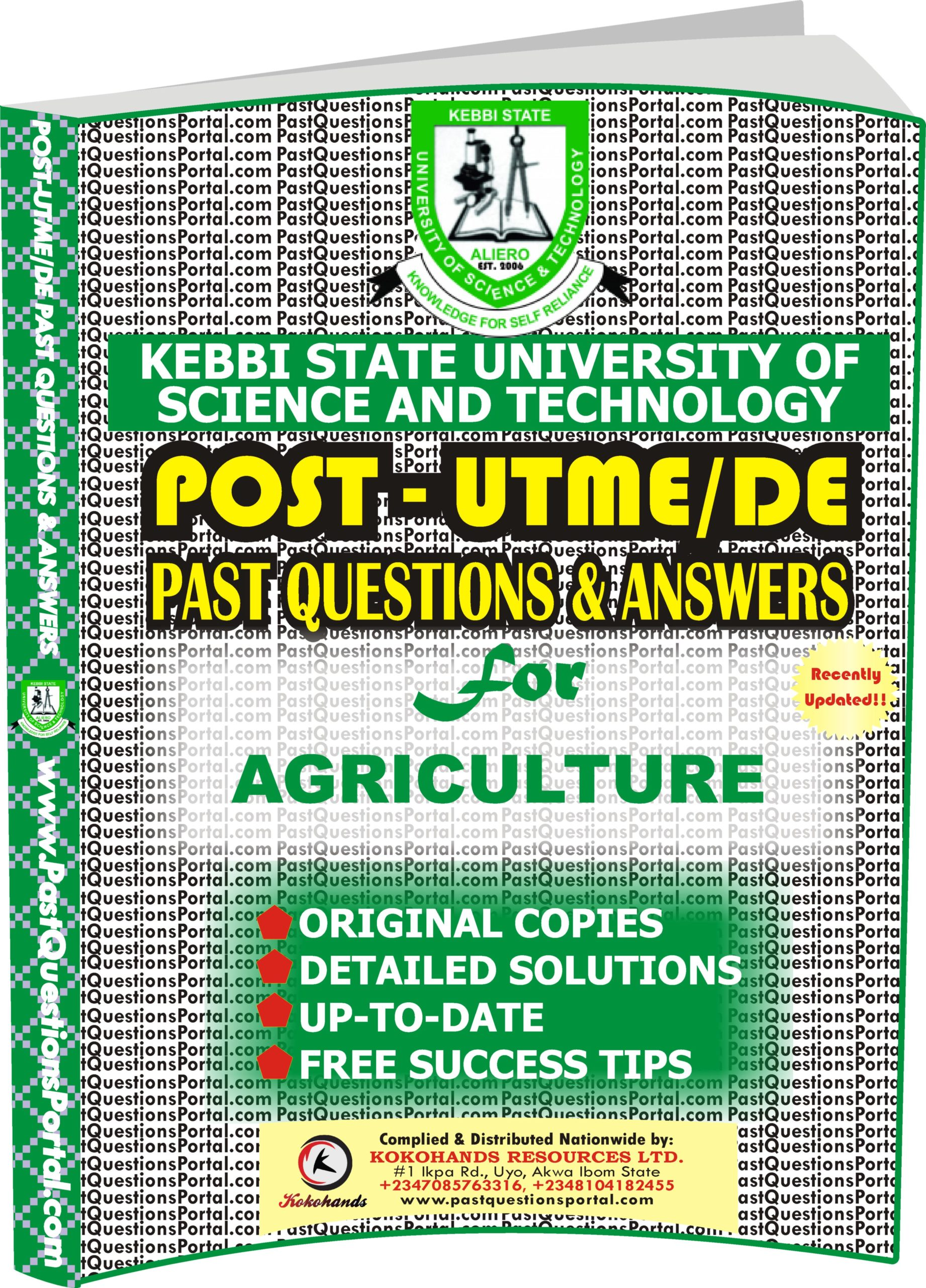 KSUSTA Post UTME Past Questions for AGRICULTURE