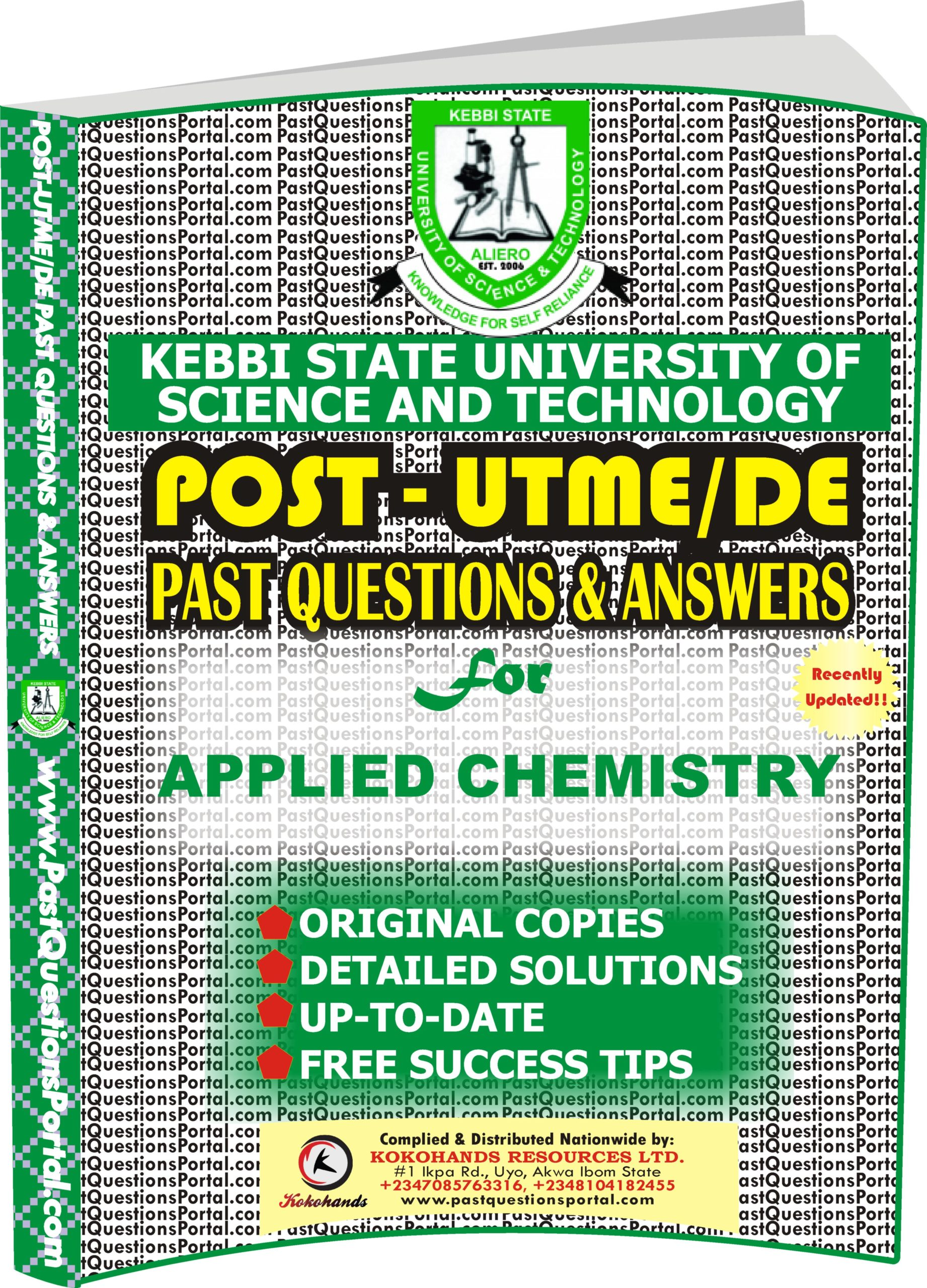 KSUSTA Post UTME Past Questions for APPLIED CHEMISTRY