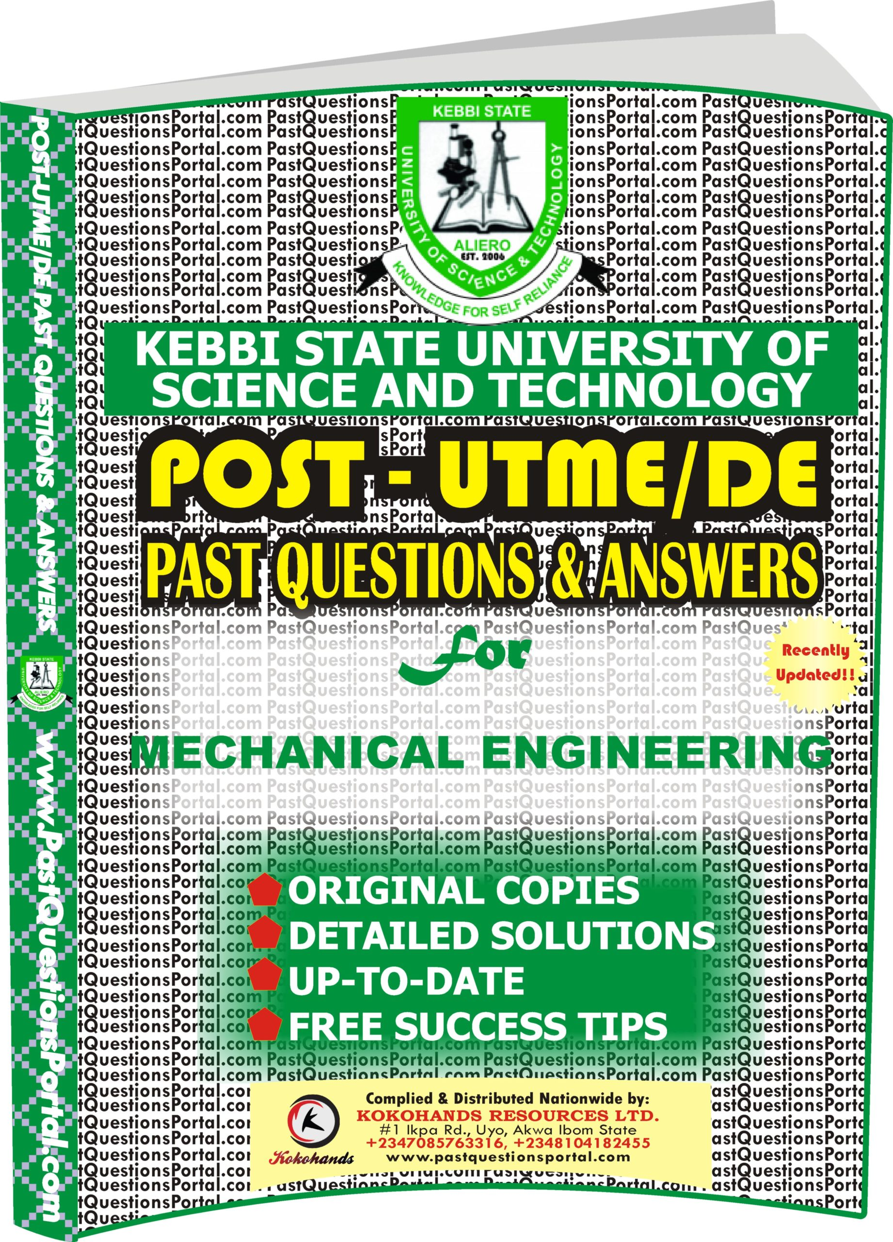 KSUSTA Post UTME Past Questions for MECHANICAL ENGINEERING
