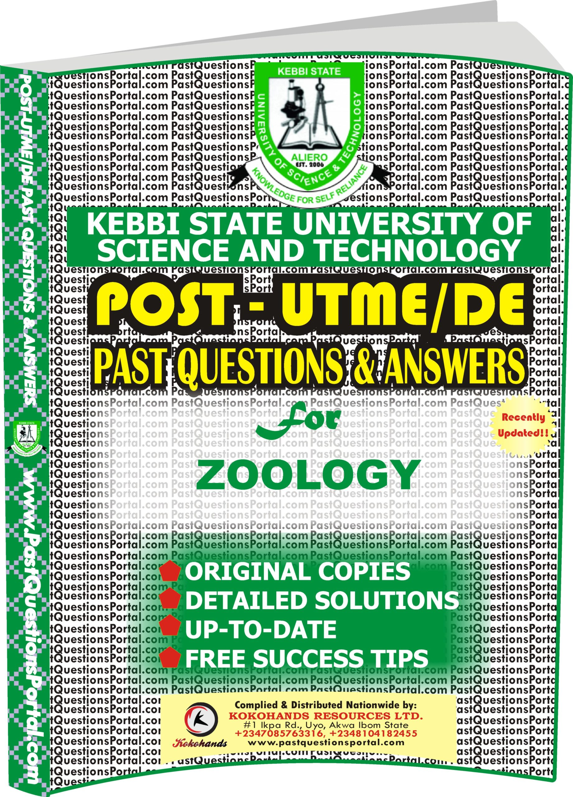 KSUSTA Post UTME Past Questions for ZOOLOGY